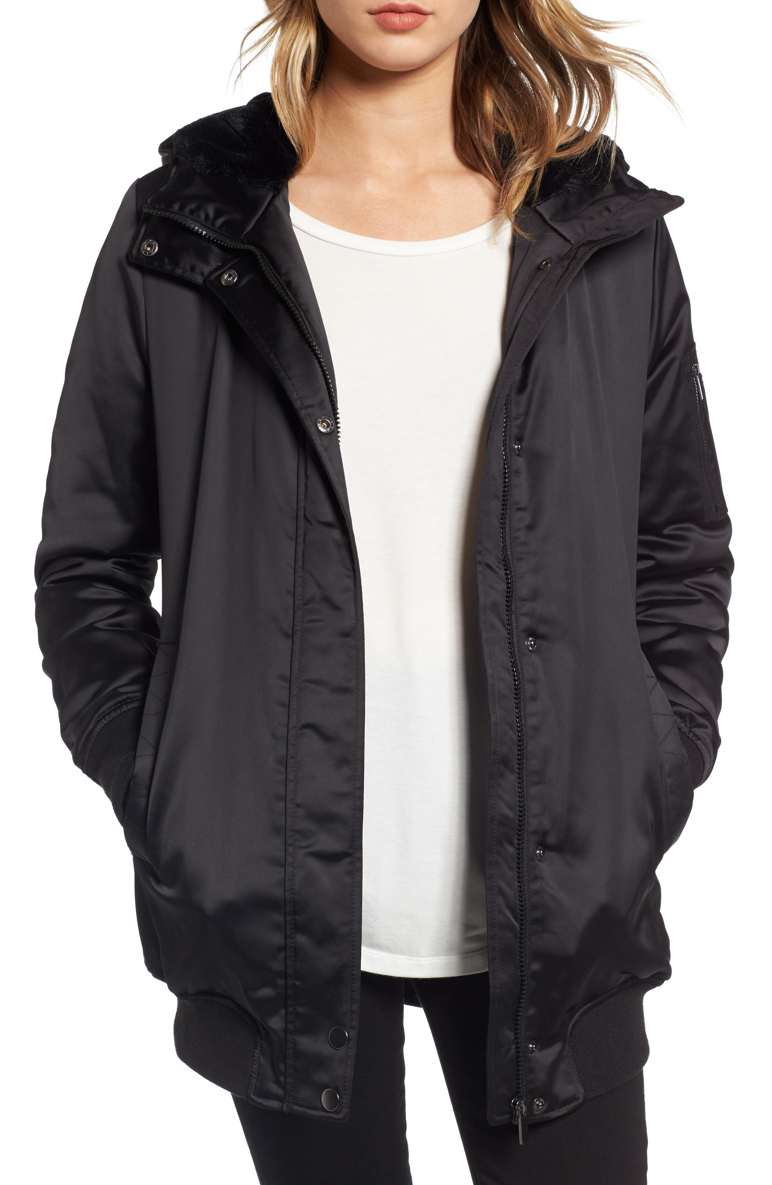 Main Image - Maralyn & Me Longline Hooded Bomber Jacket
