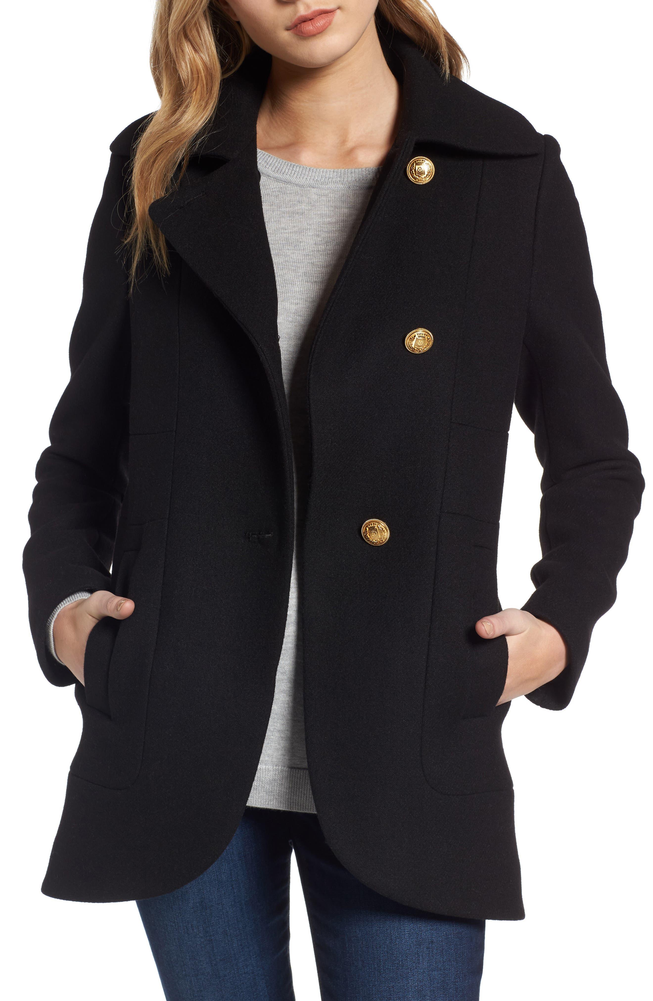 Back Belt Wool Blend Peacoat,                         Main,                         color, Black
