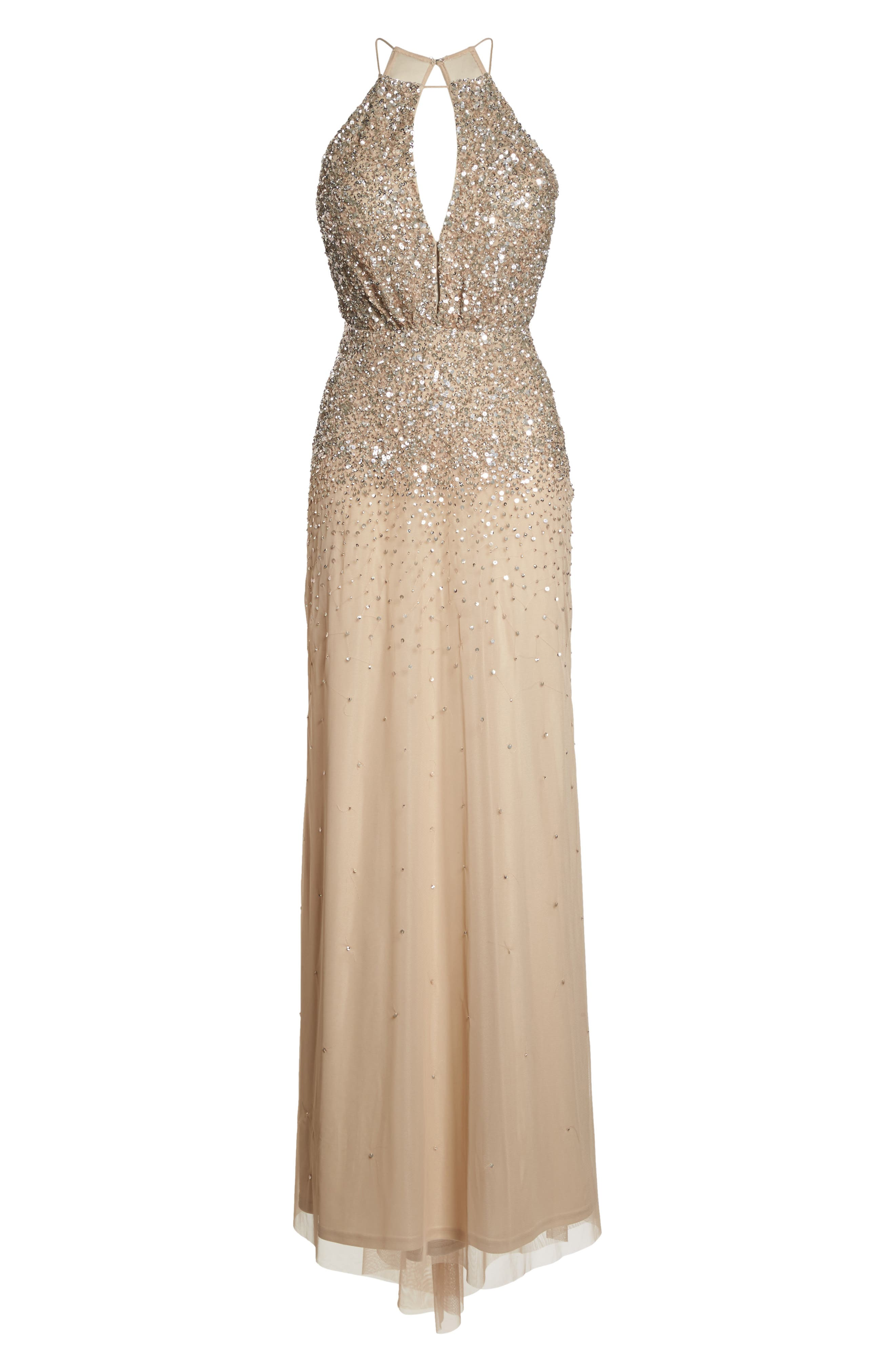 Alternate Image 6  - Adrianna Papell Beaded Halter Gown