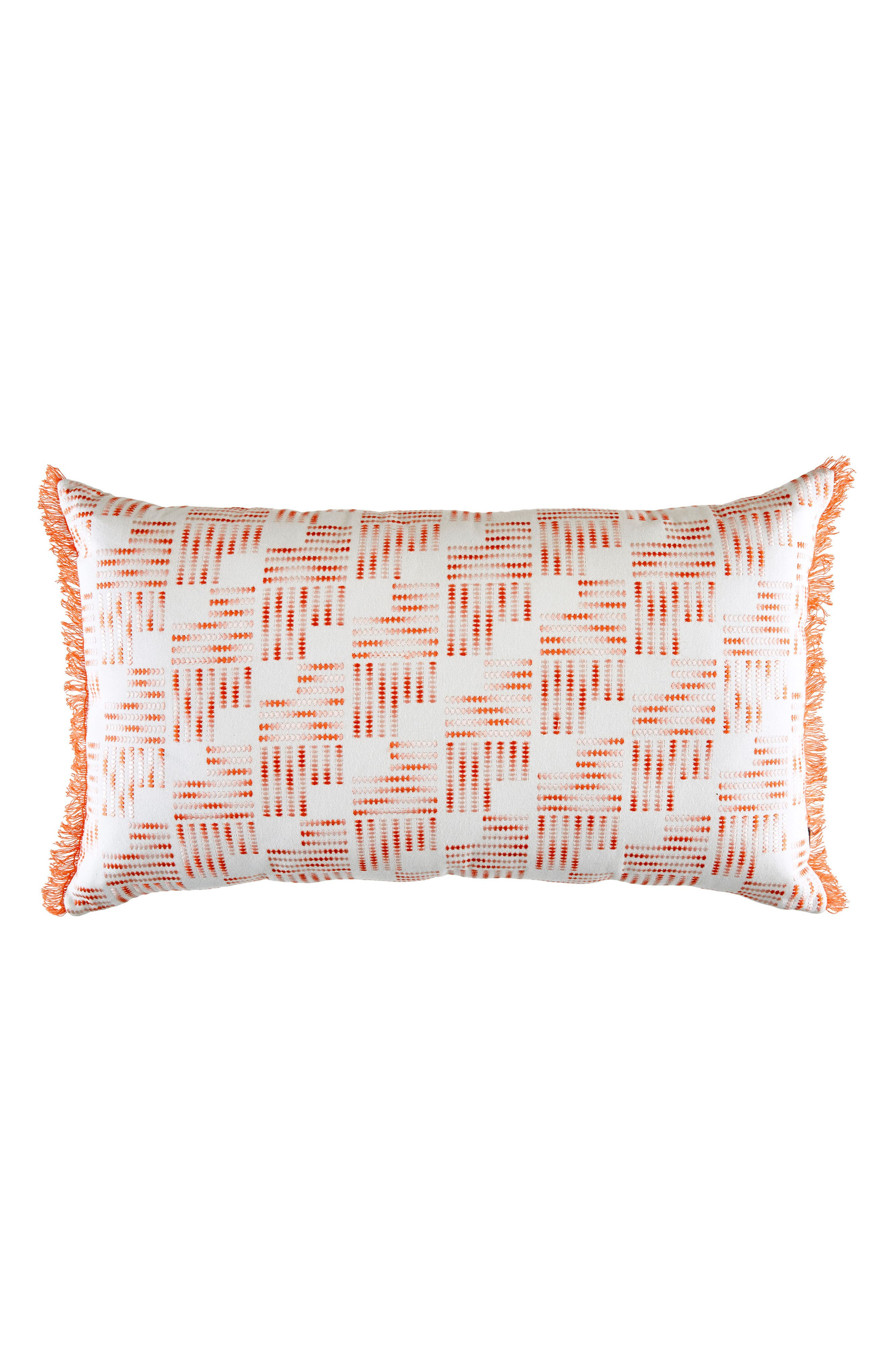 Embroidered Fringe Accent Pillow,                         Main,                         color, Light/ Pastel Pink