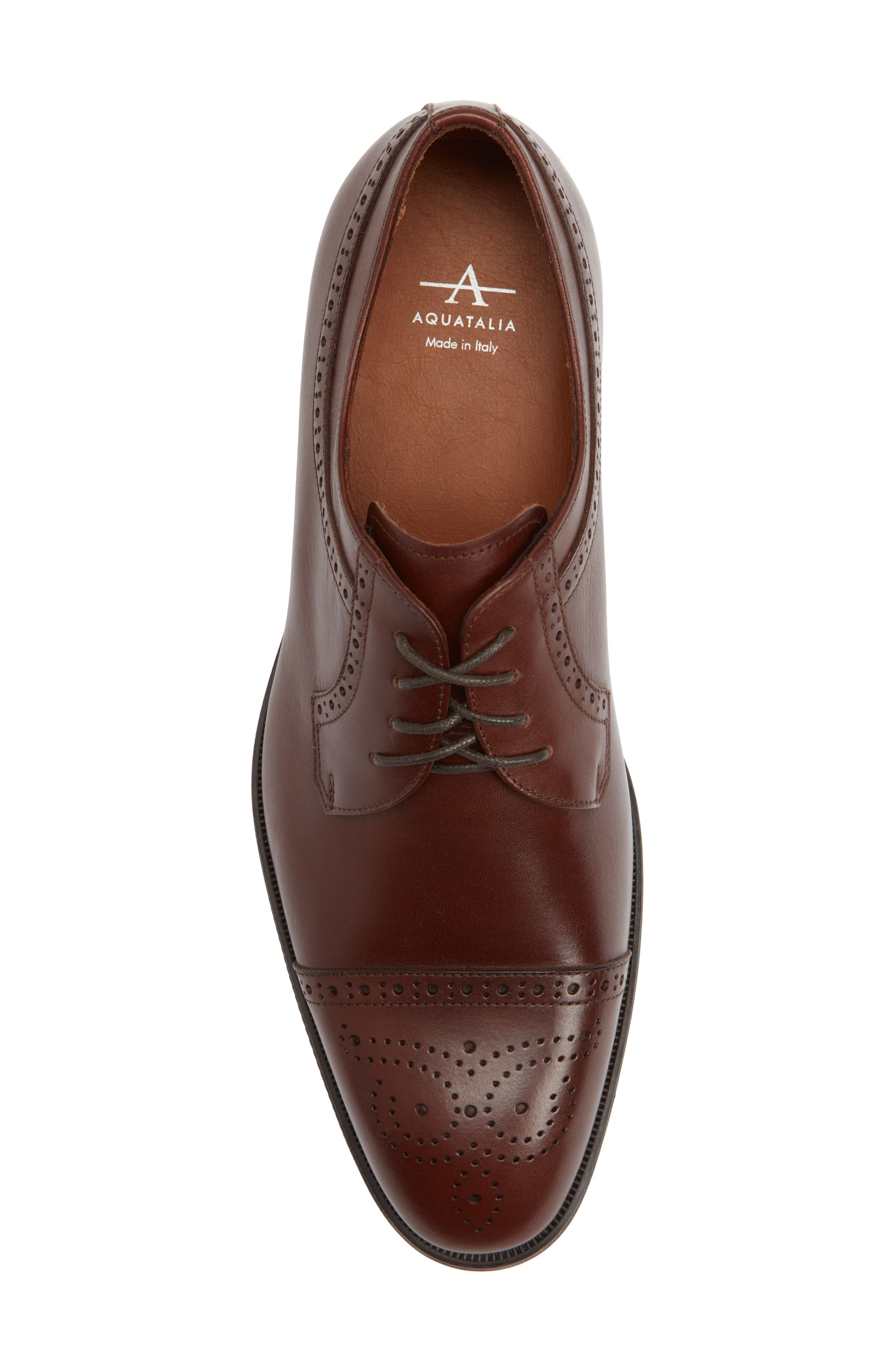 Duke Medallion Toe Derby,                             Alternate thumbnail 5, color,                             Burnished Cognac Leather
