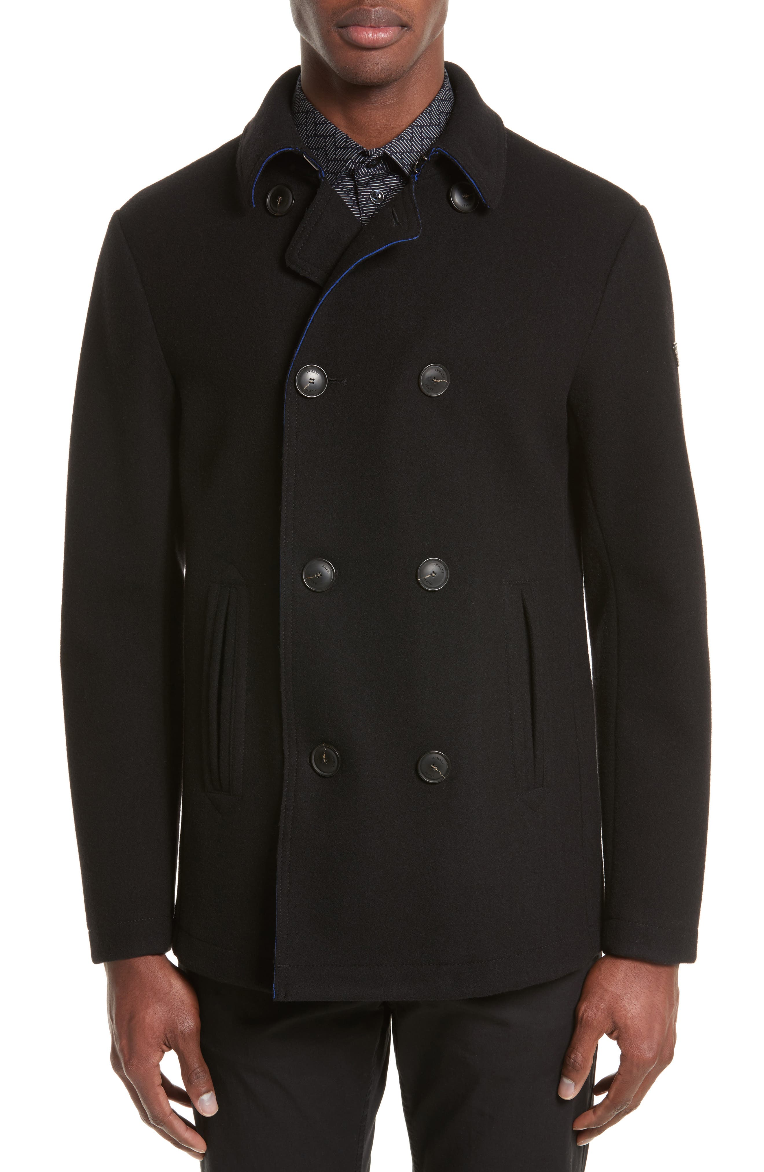 Double Breasted Peacoat,                             Main thumbnail 1, color,                             Black