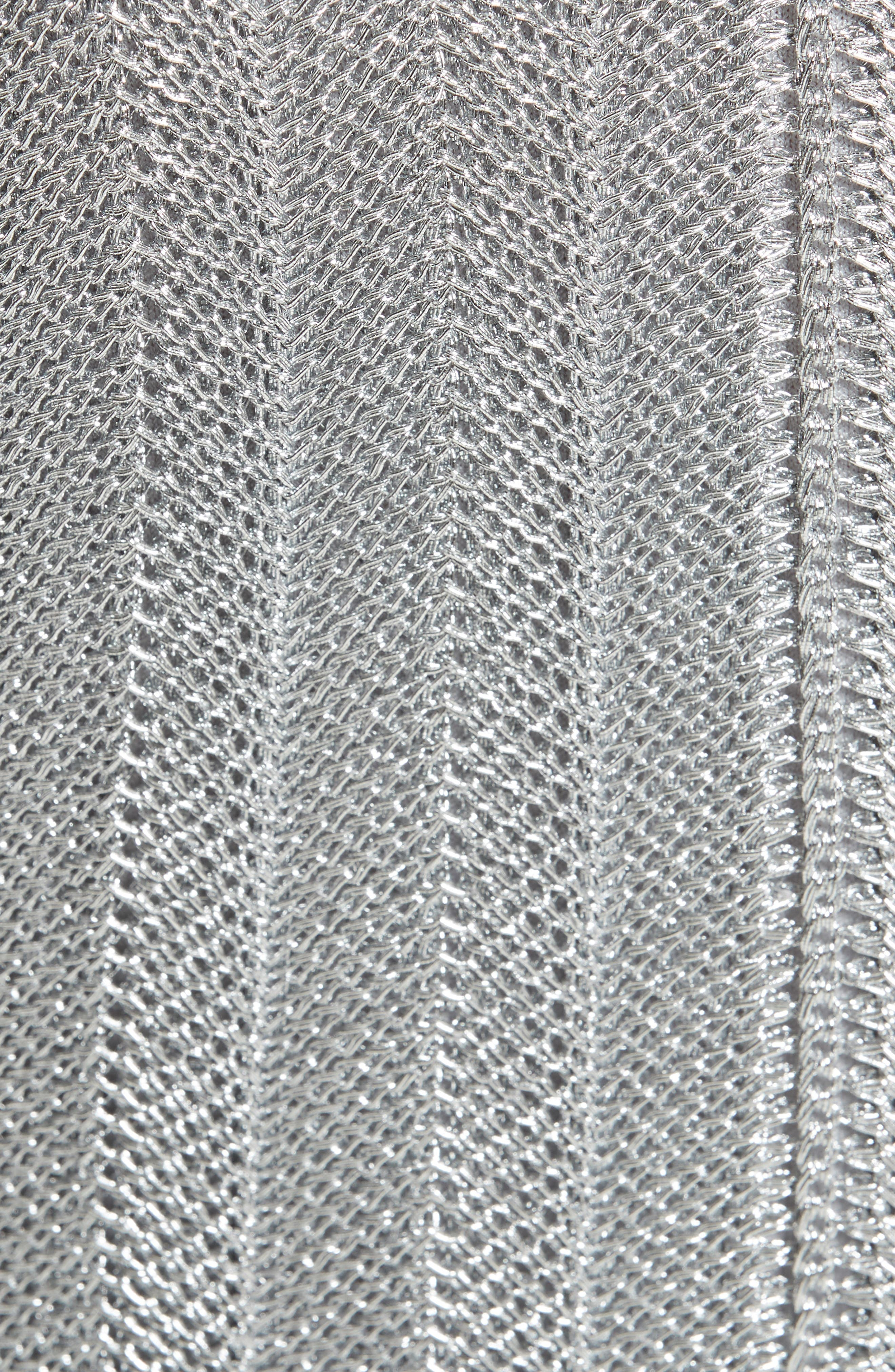 Metallic Knit Fit & Flare Dress,                             Alternate thumbnail 3, color,                             Silver Metallic