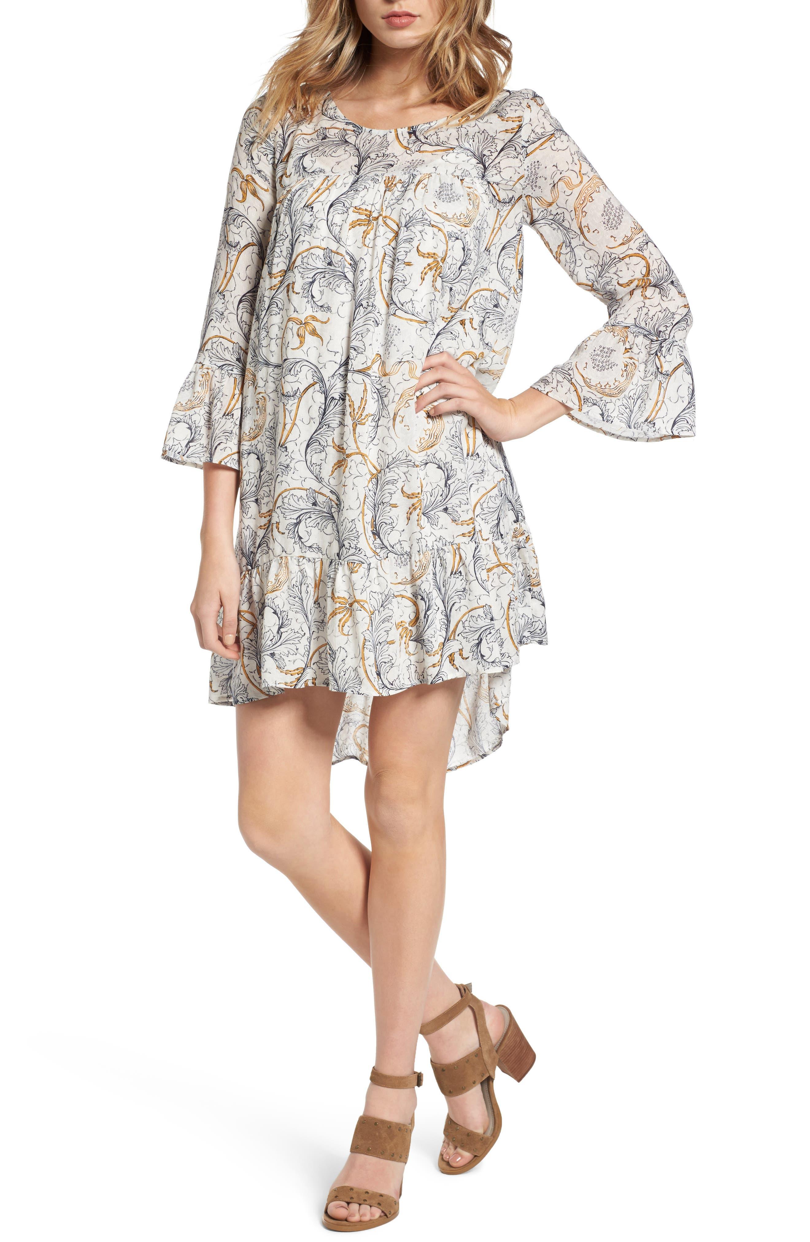 Ruffle Print Dress,                             Main thumbnail 1, color,                             Grey Fog Feathered Floral