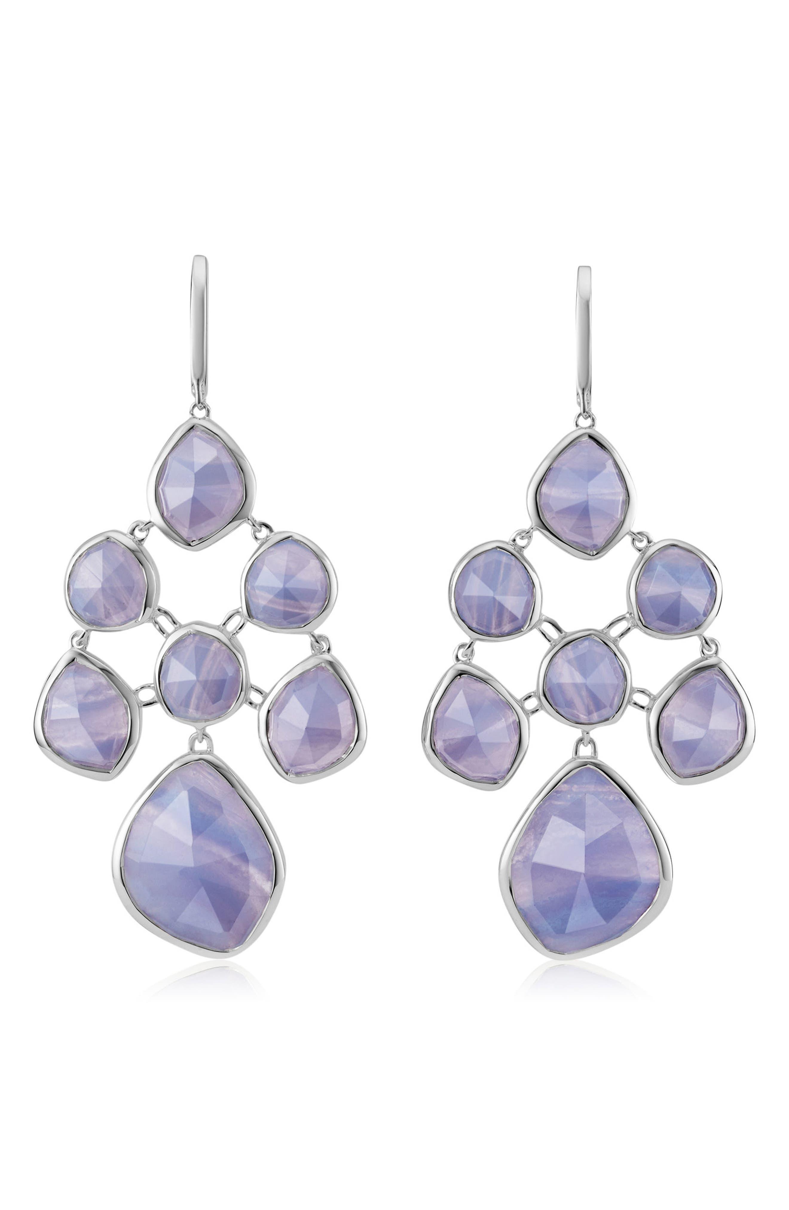 Siren Chandelier Earrings,                         Main,                         color, Silver/ Blue Lace Agate