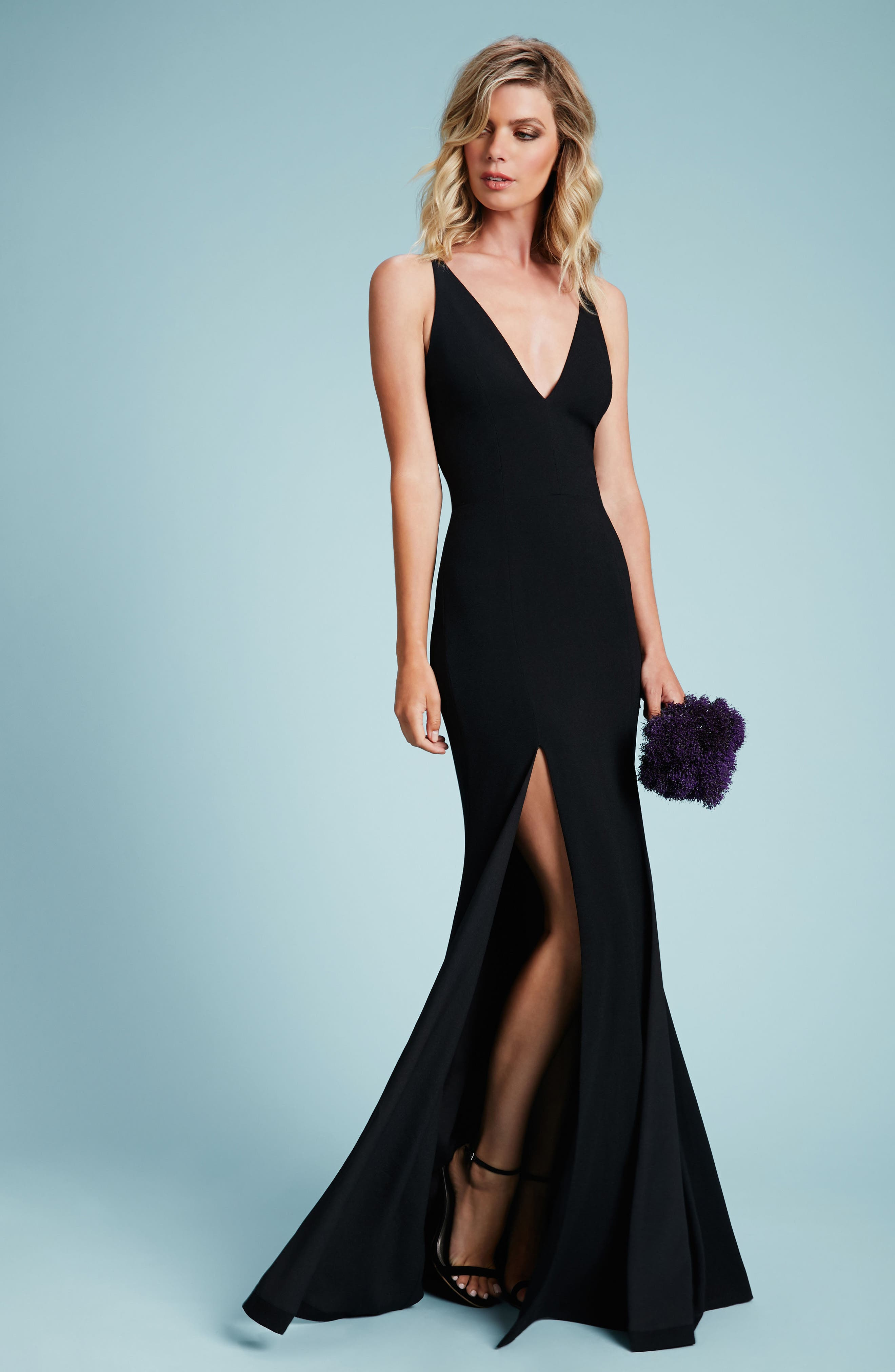 Alternate Image 2  - Dress the Population Iris Slit Crepe Gown