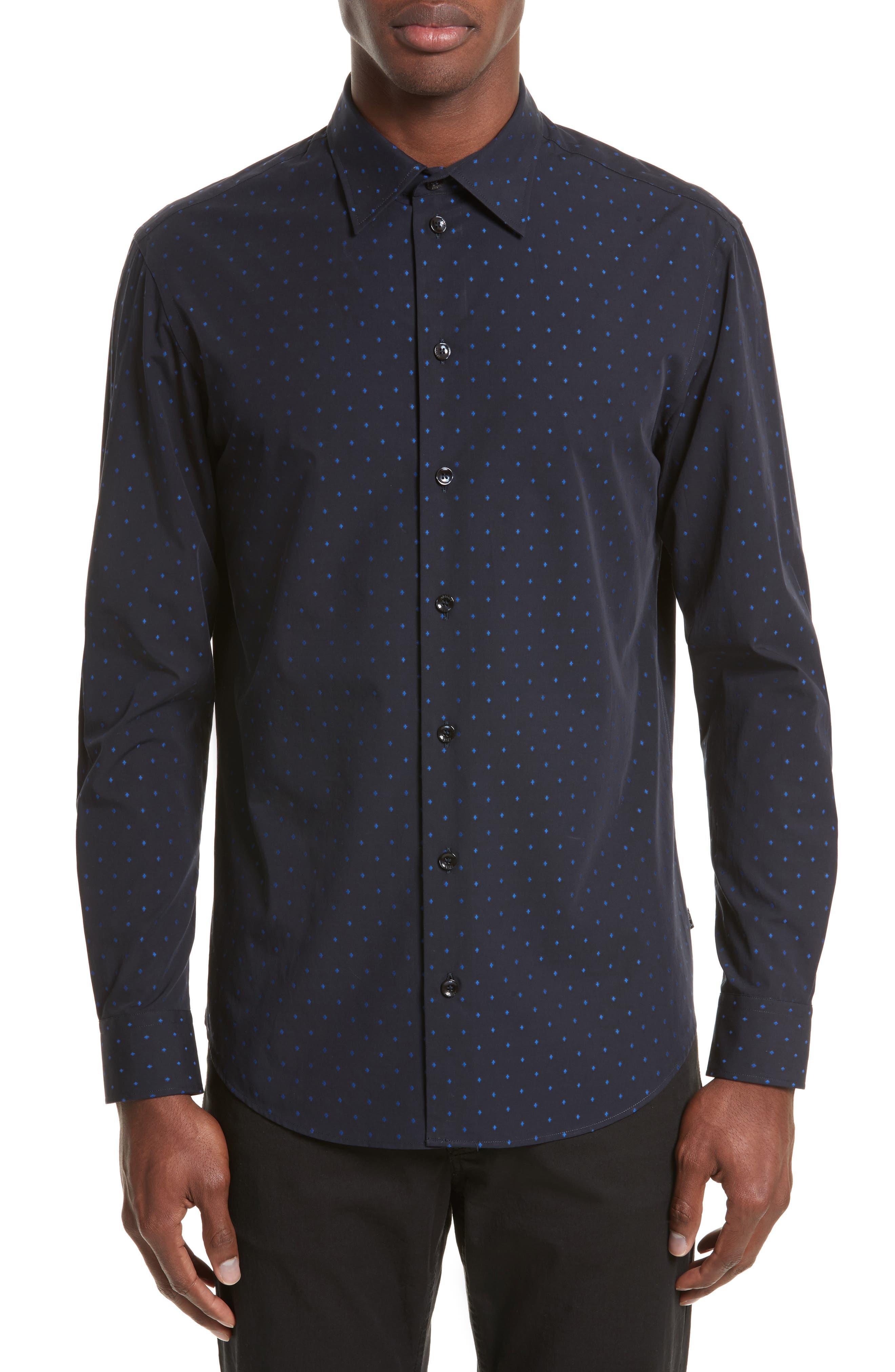 Fil Coupe Diamond Jacquard Sport Shirt,                         Main,                         color, Fancy Blue