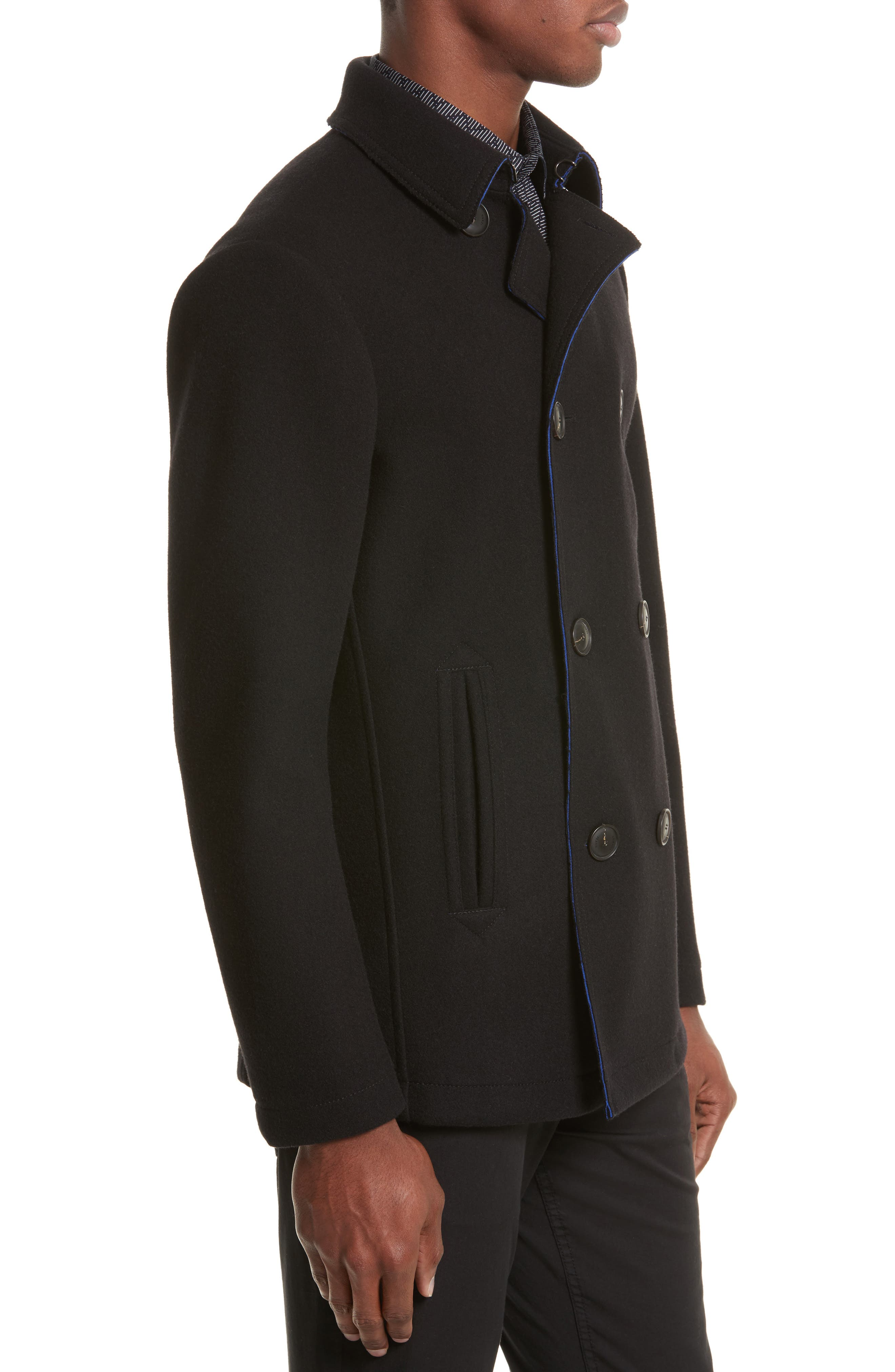 Double Breasted Peacoat,                             Alternate thumbnail 3, color,                             Black