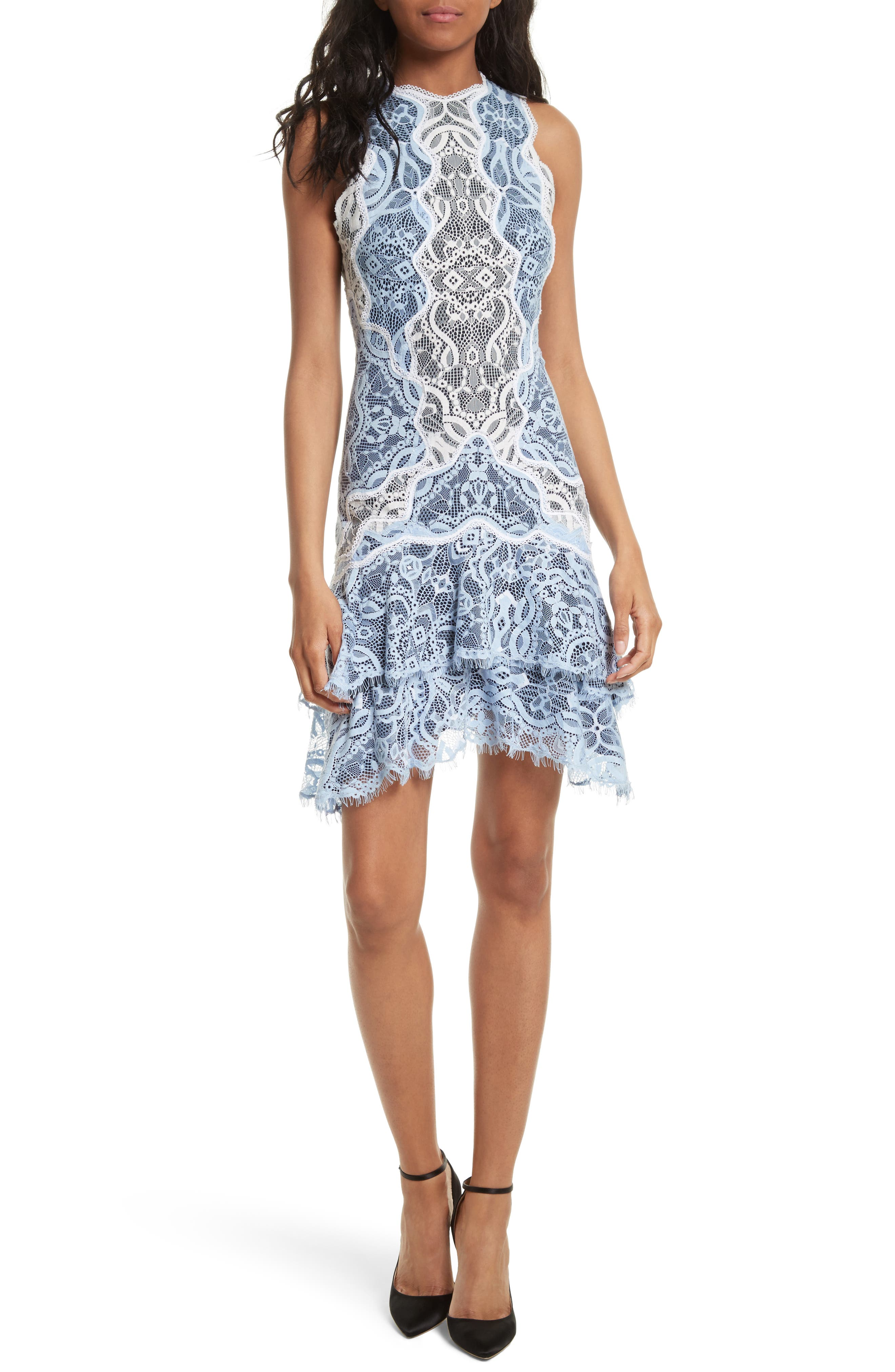 Two-Tone Lace Ruffle Hem Minidress,                         Main,                         color, French Blue/ White