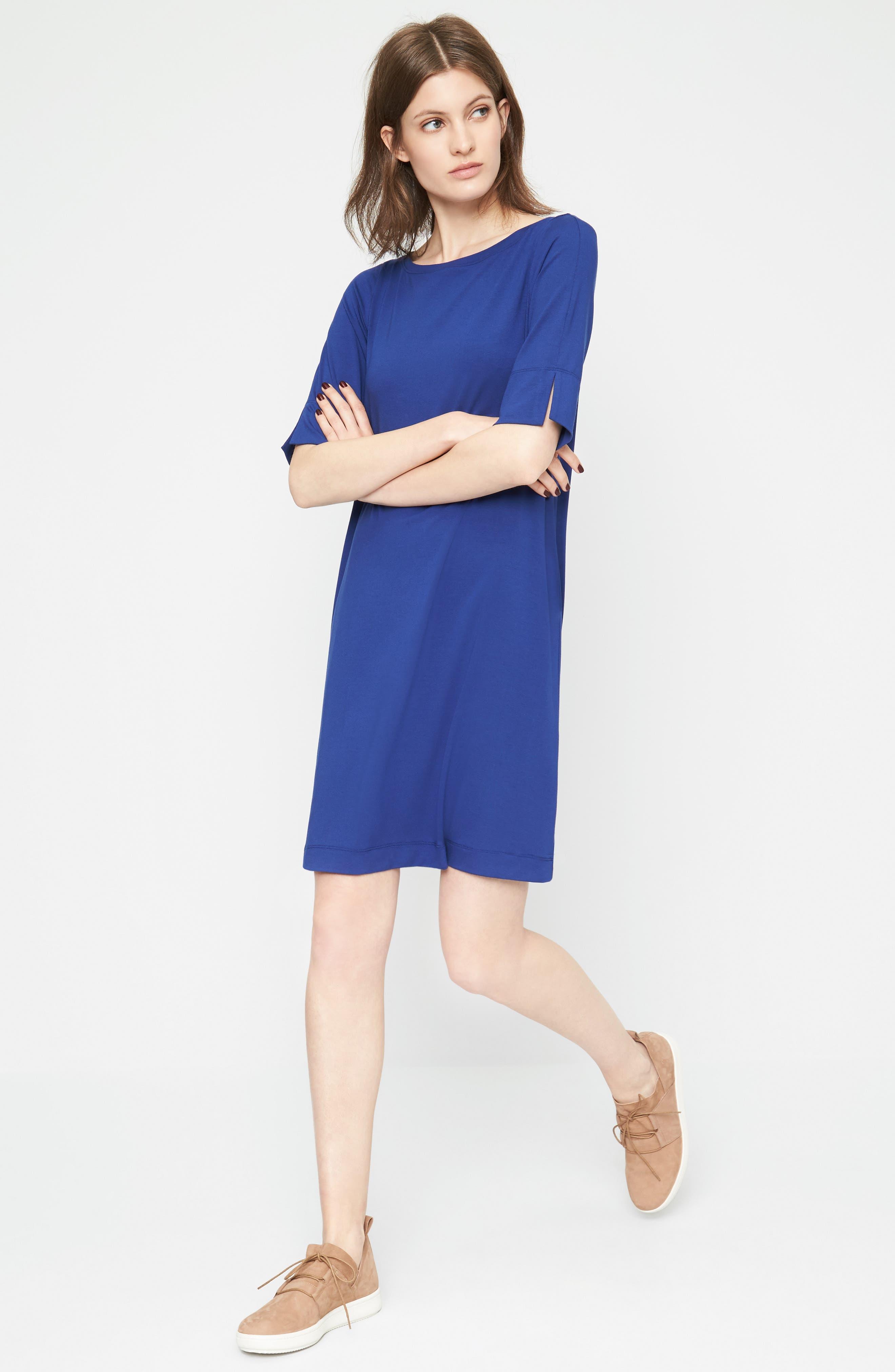 Jersey Shift Dress,                             Alternate thumbnail 2, color,                             Persian Blue