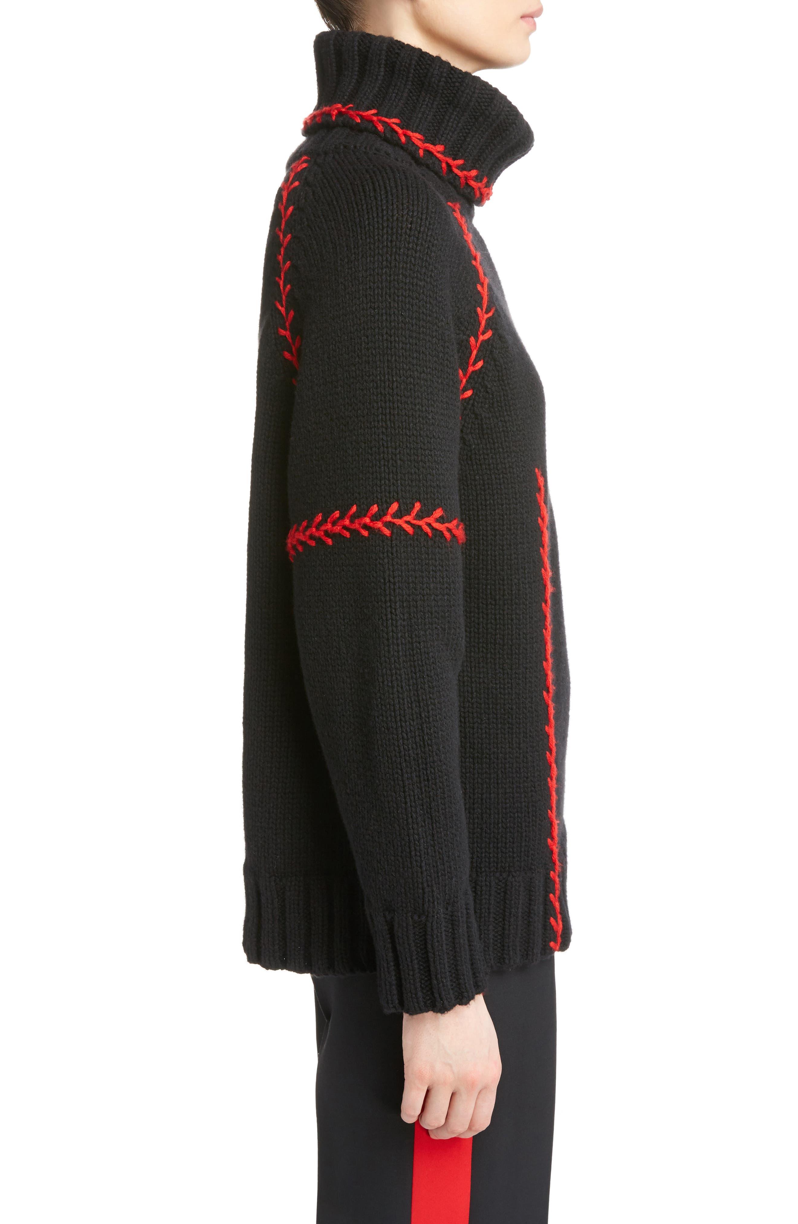 Alternate Image 4  - Alexander McQueen Stitch Detail Cashmere Turtleneck Sweater
