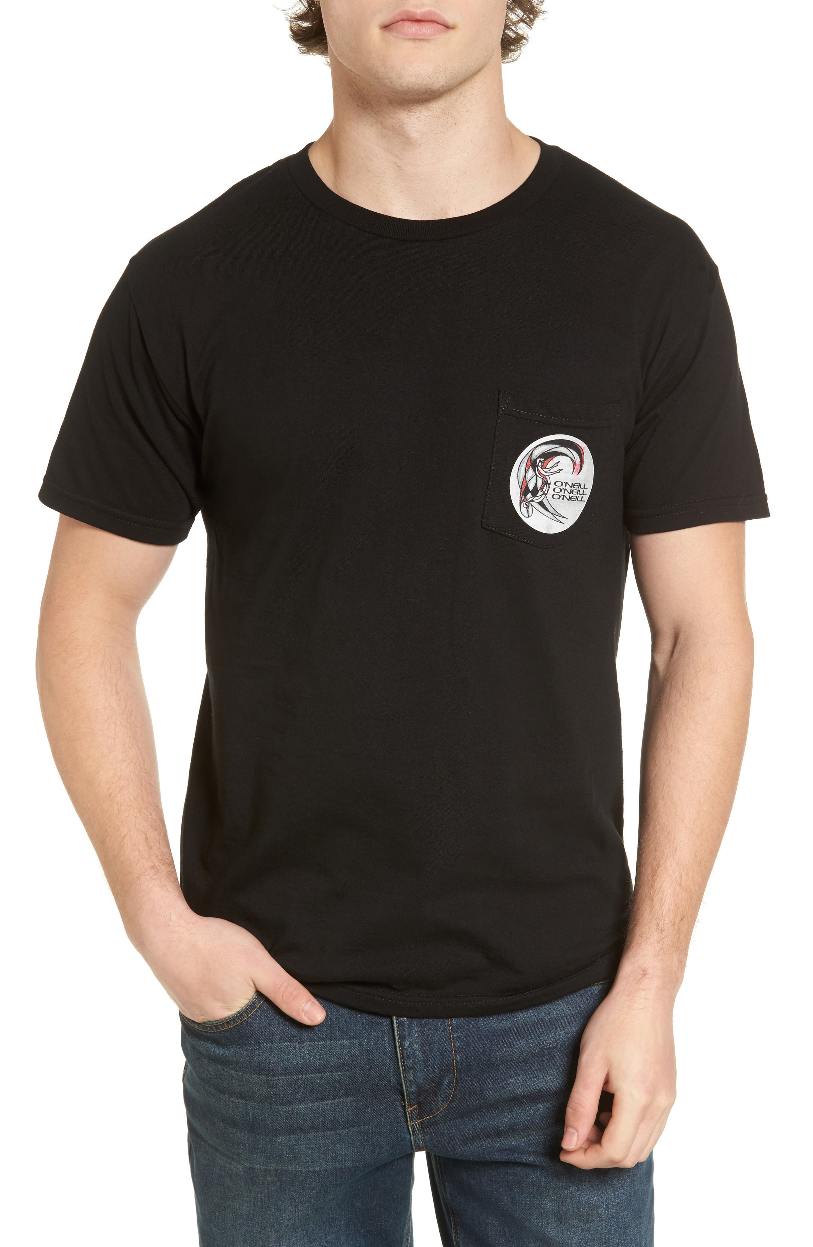 Rager Logo Pocket T-Shirt,                             Main thumbnail 1, color,                             Black