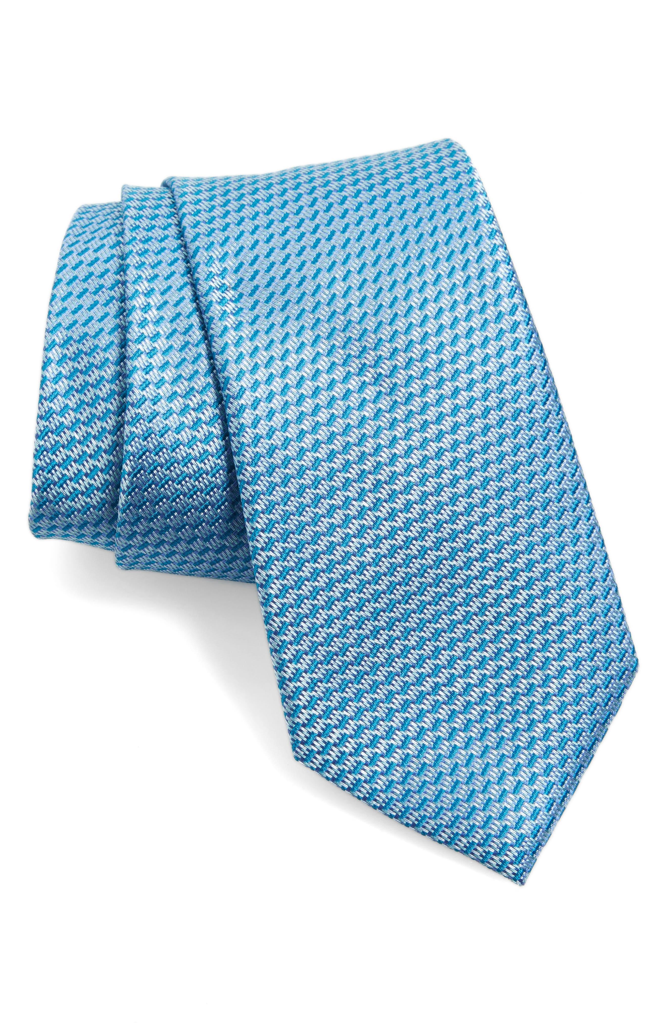 Solid Silk Tie,                         Main,                         color, Teal