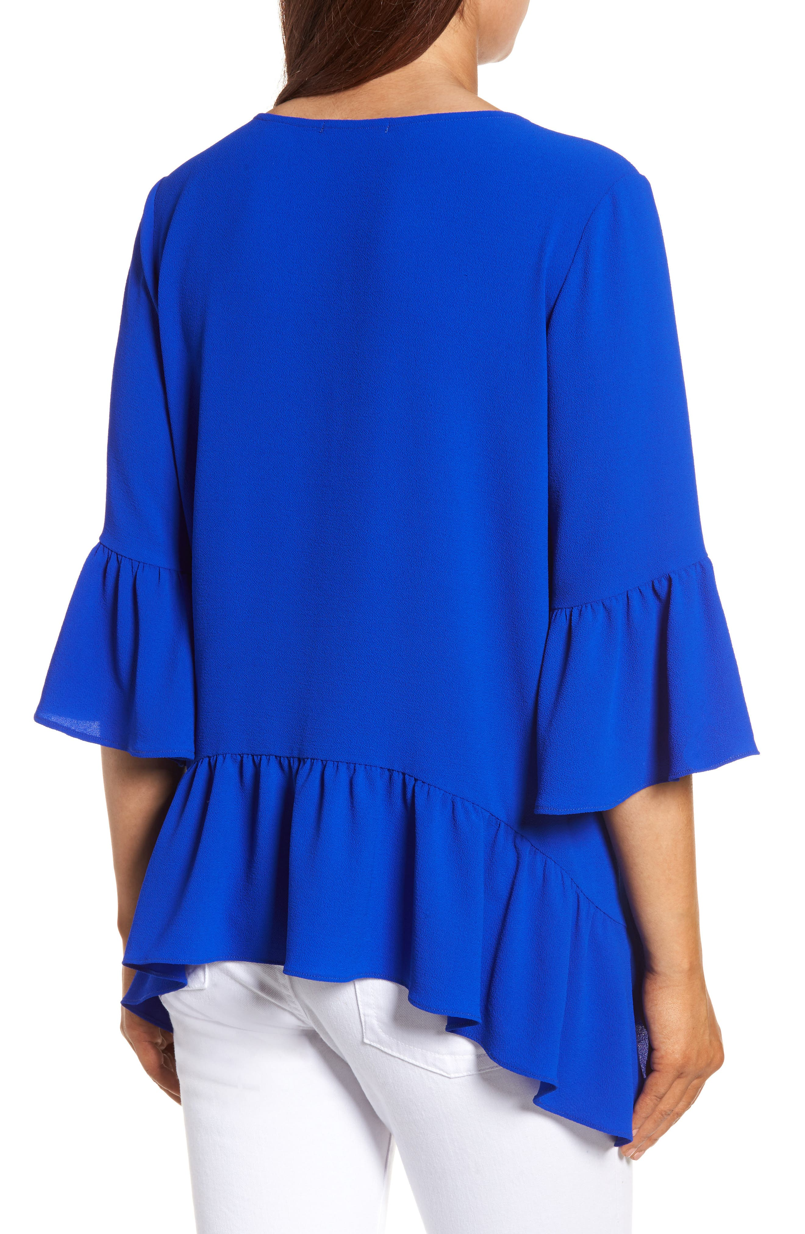 Alternate Image 2  - Gibson Ruffled Handkerchief Hem Top (Regular & Petite)