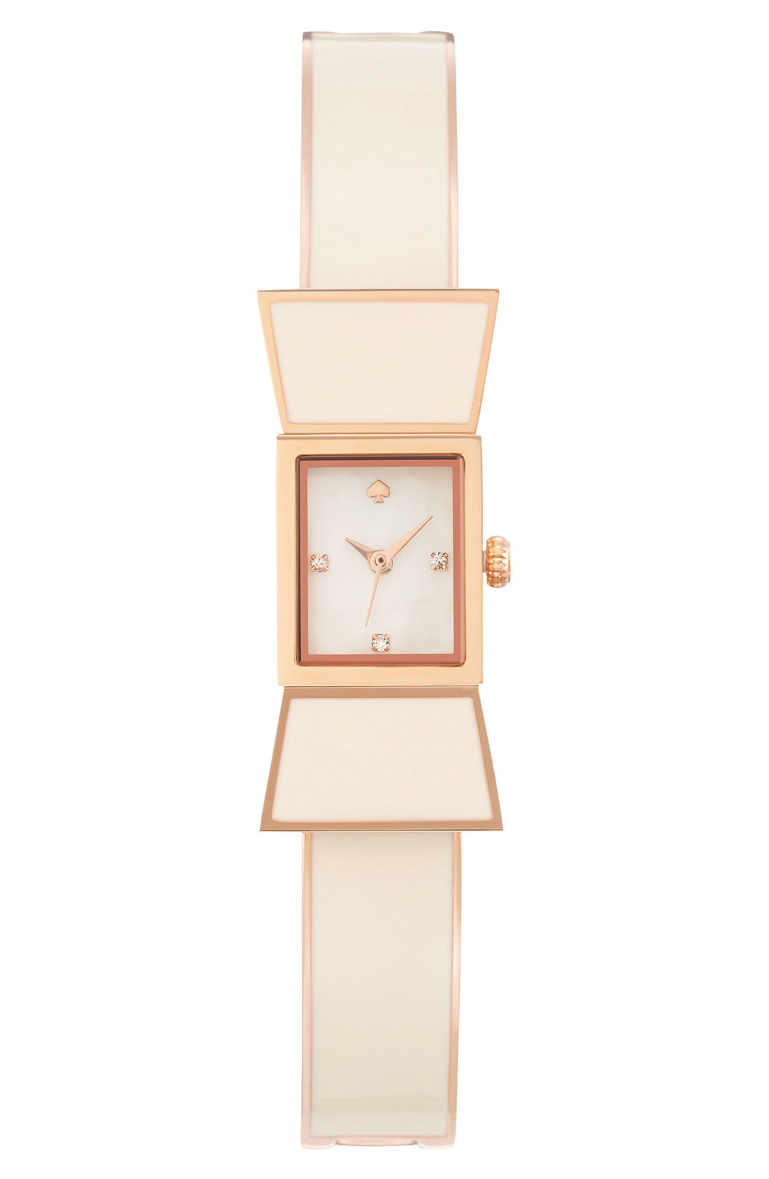 carlyle bow bangle watch, 16mm,                             Main thumbnail 1, color,                             White/ Rose Gold
