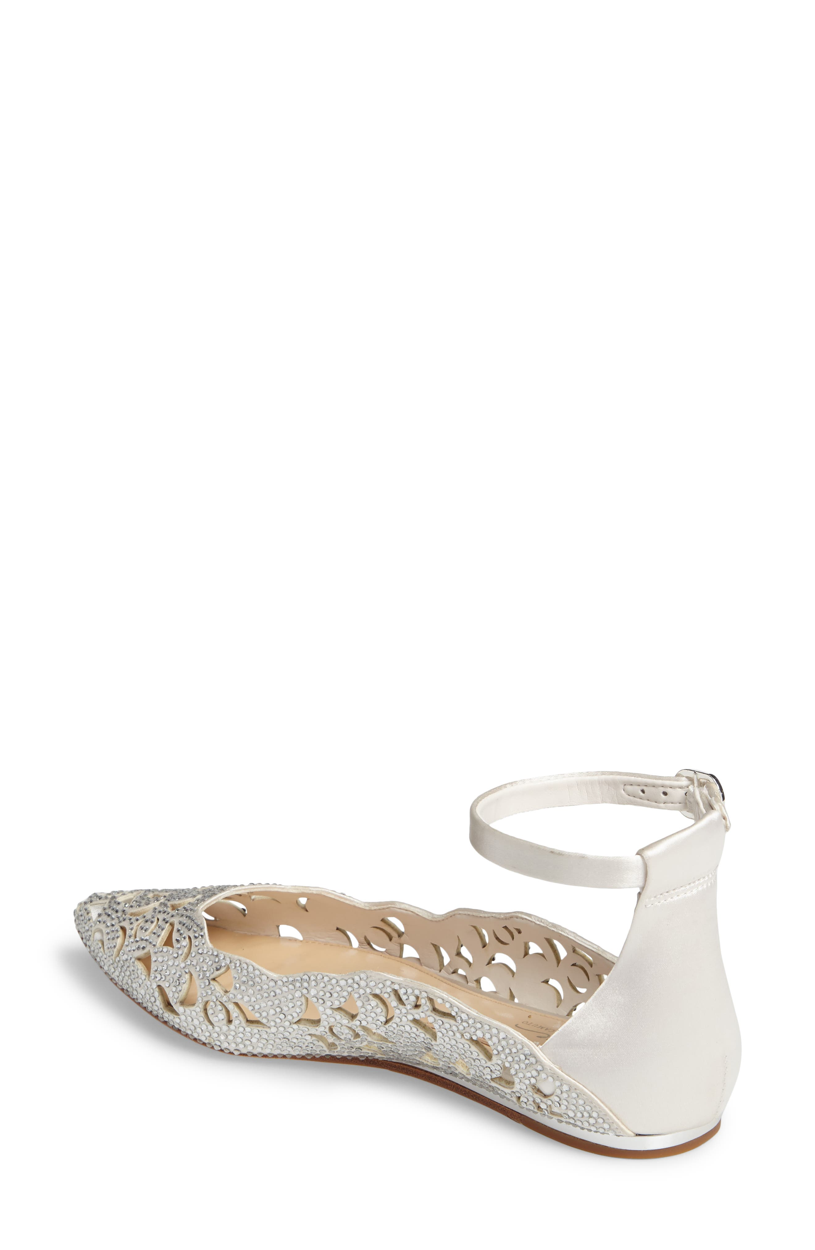Garyn Ankle Strap Flat,                             Alternate thumbnail 2, color,                             Ivory Satin