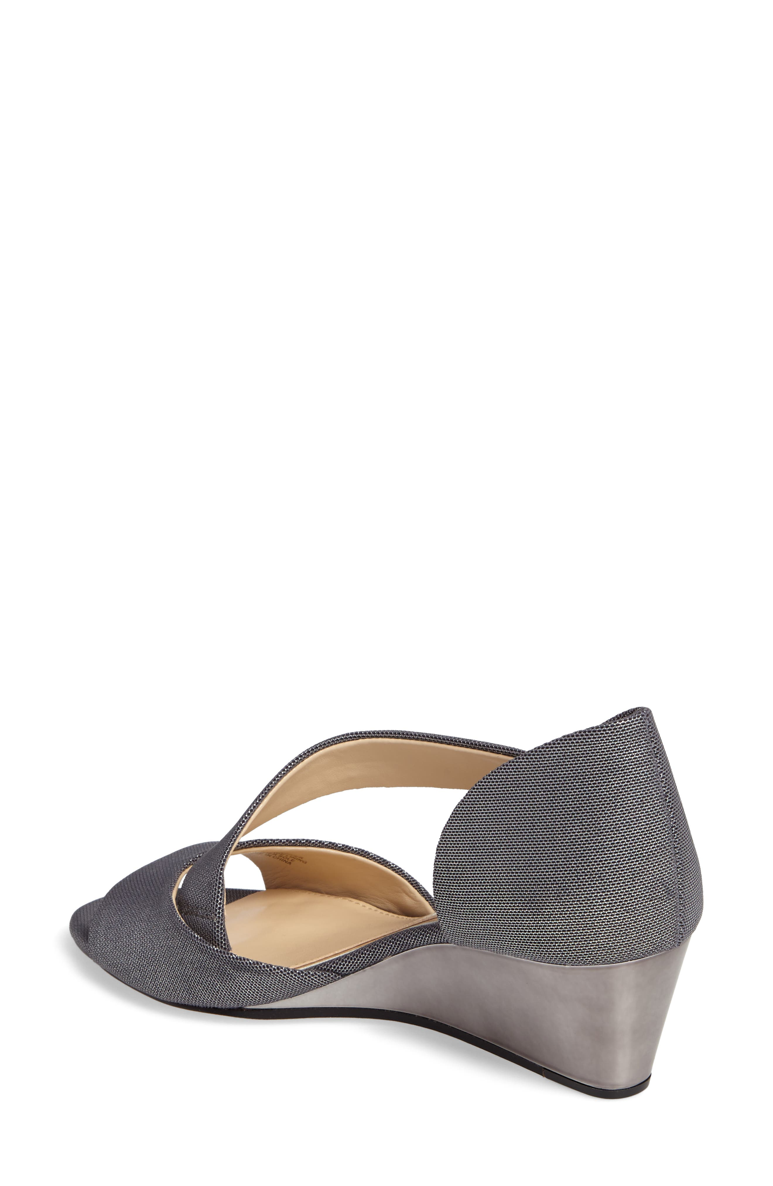Jefre Wedgee Sandal,                             Alternate thumbnail 2, color,                             Anthracite Fabric