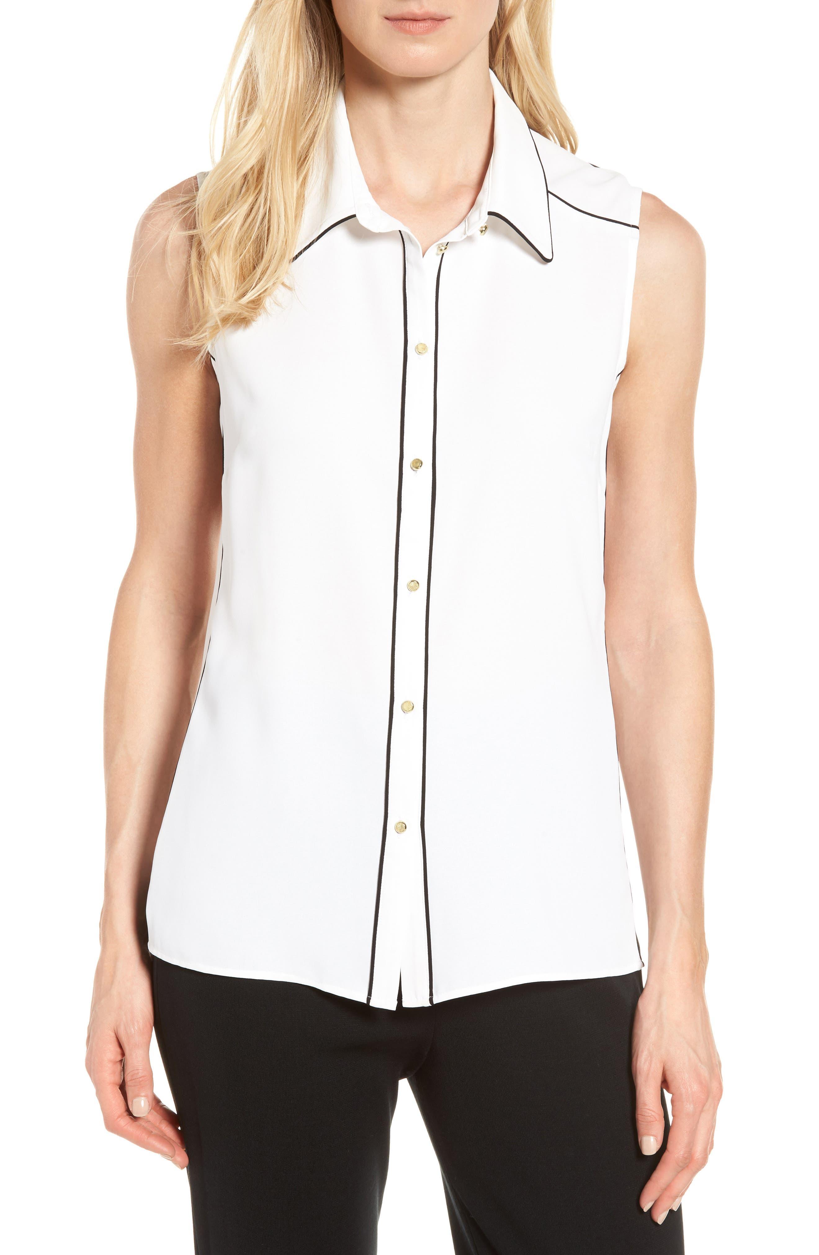 Contrast Trim Blouse,                         Main,                         color, White/ Black