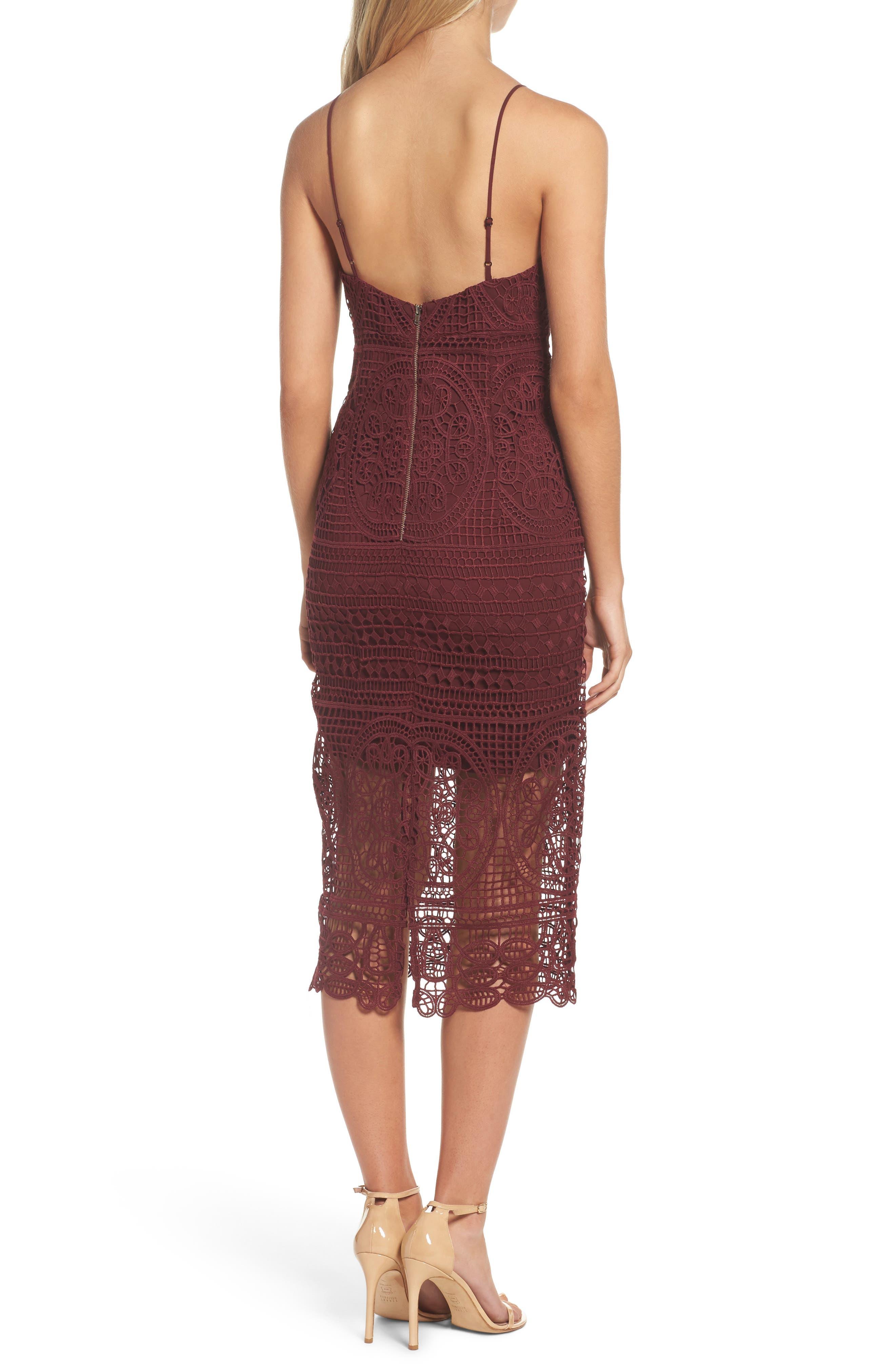 Versailles Lace Pencil Dress,                             Alternate thumbnail 2, color,                             Burgundy