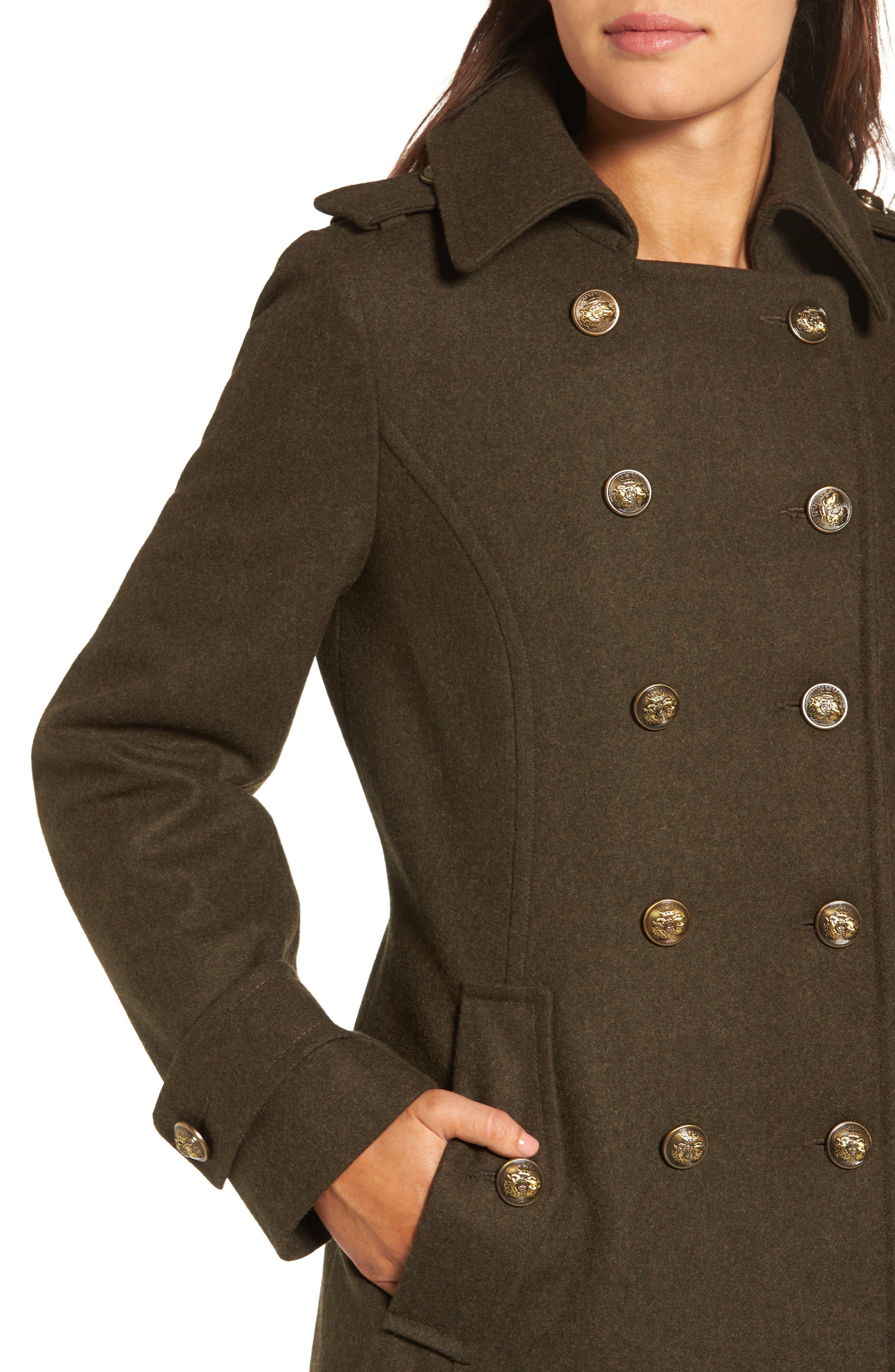 Wool Blend Skirted Military Coat,                             Alternate thumbnail 4, color,                             Olive