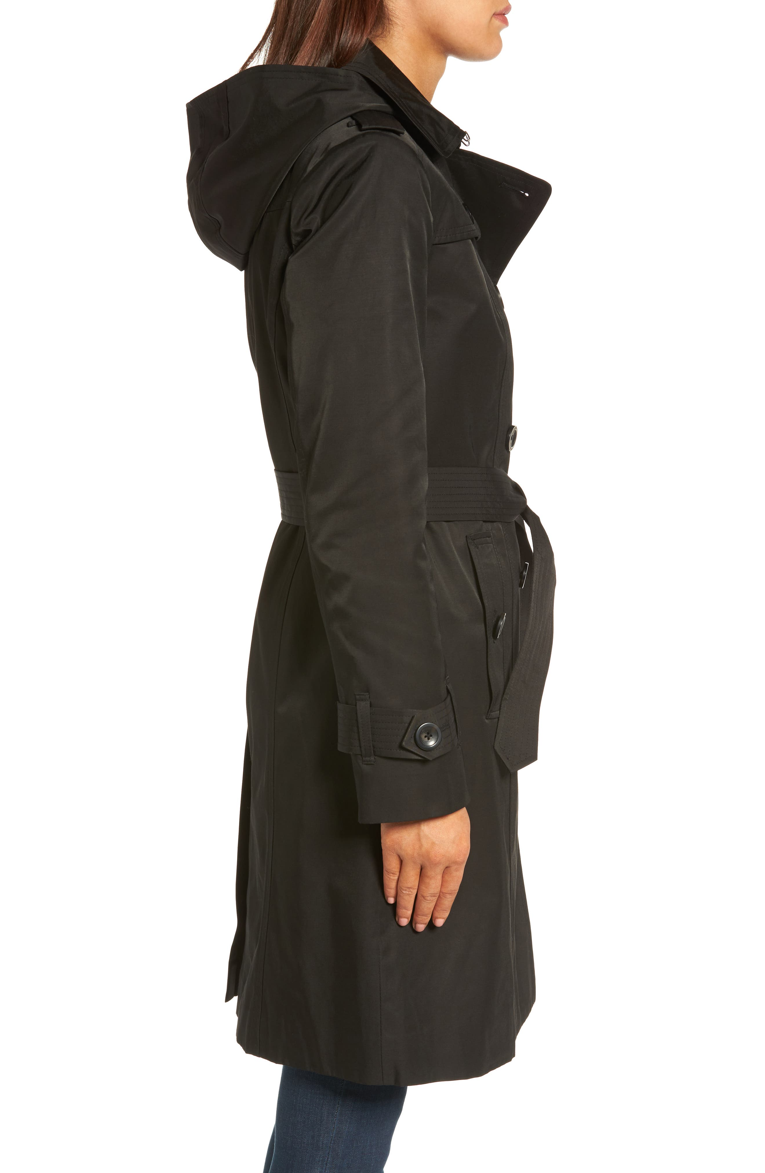 Hooded Double Breasted Long Trench Coat,                             Alternate thumbnail 3, color,                             Black