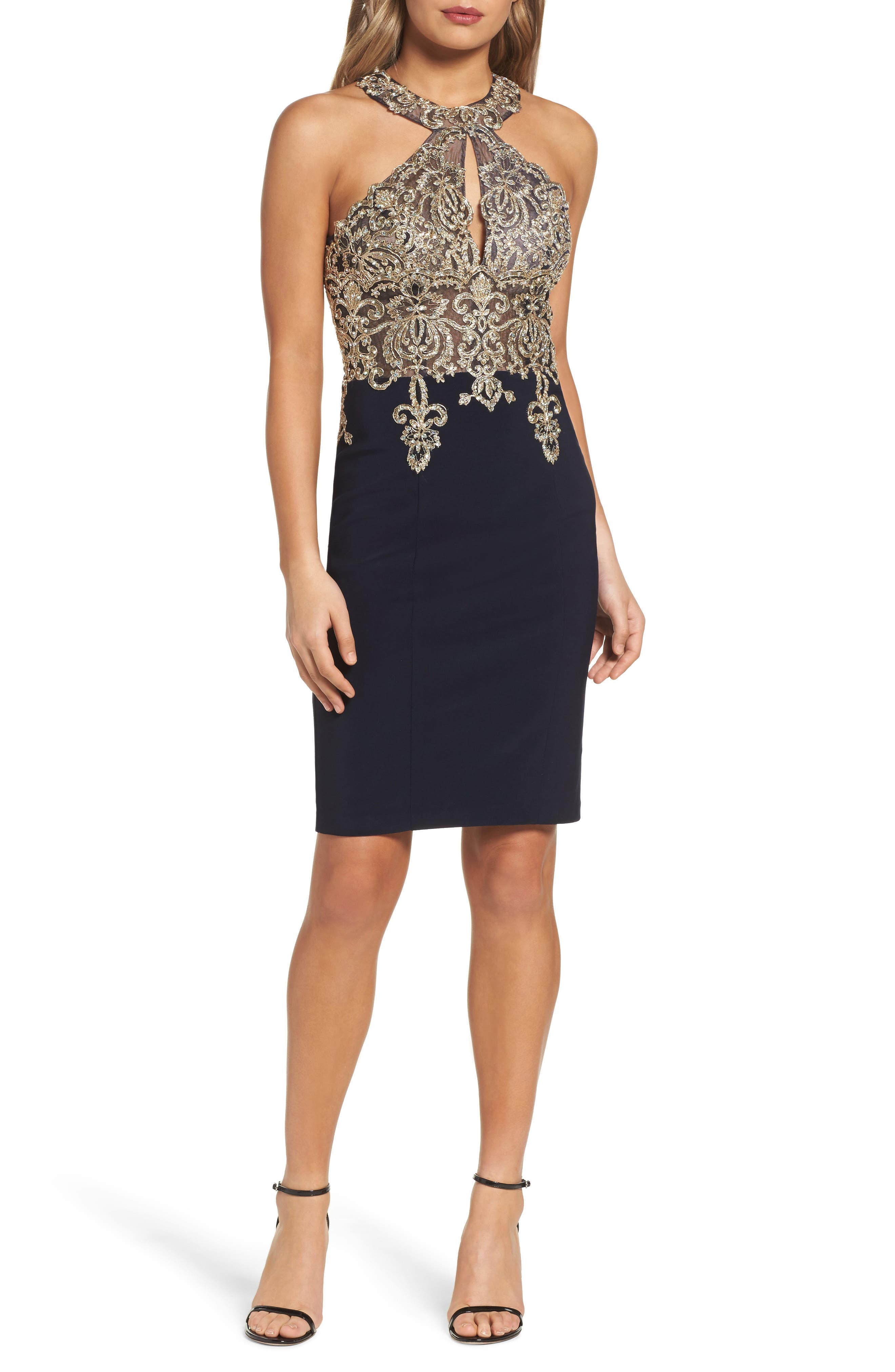 Embroidered Sheath Dress,                         Main,                         color, Navy/ Gold