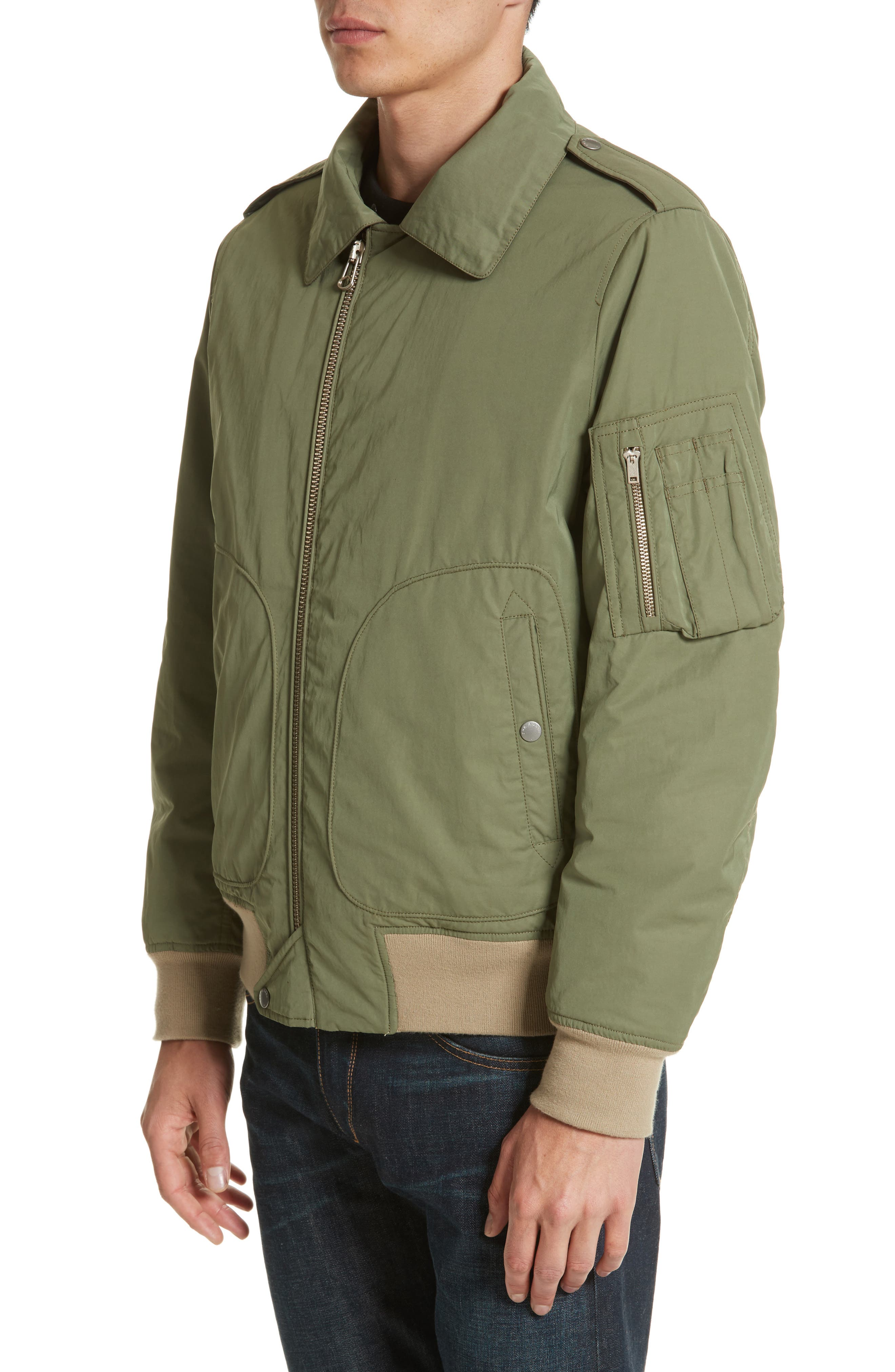 Flight Jacket with Genuine Shearling Collar,                             Alternate thumbnail 4, color,                             Army Green