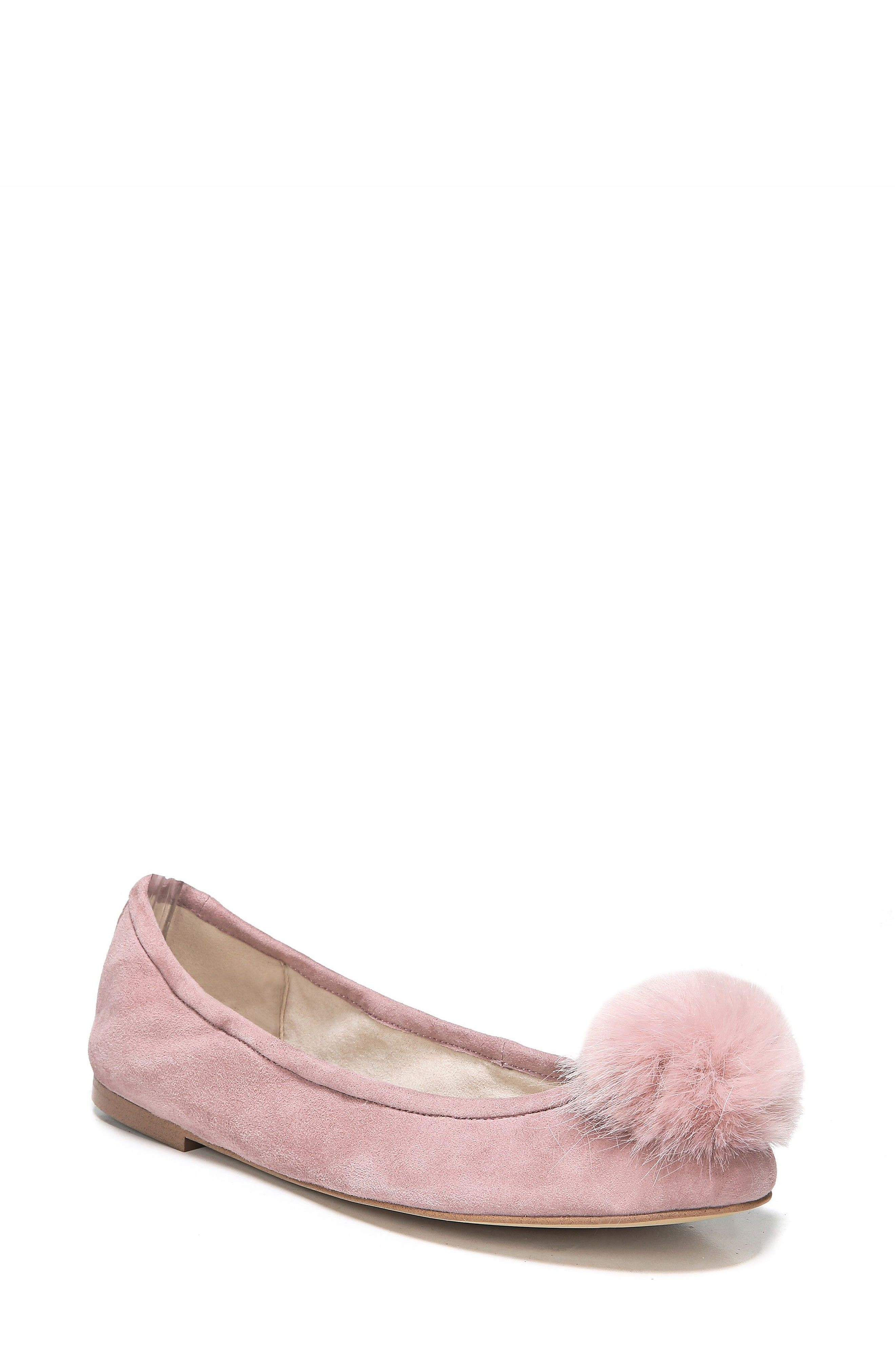 Sam Edelman Farina Flat with Faux Fur Pompom (Women)