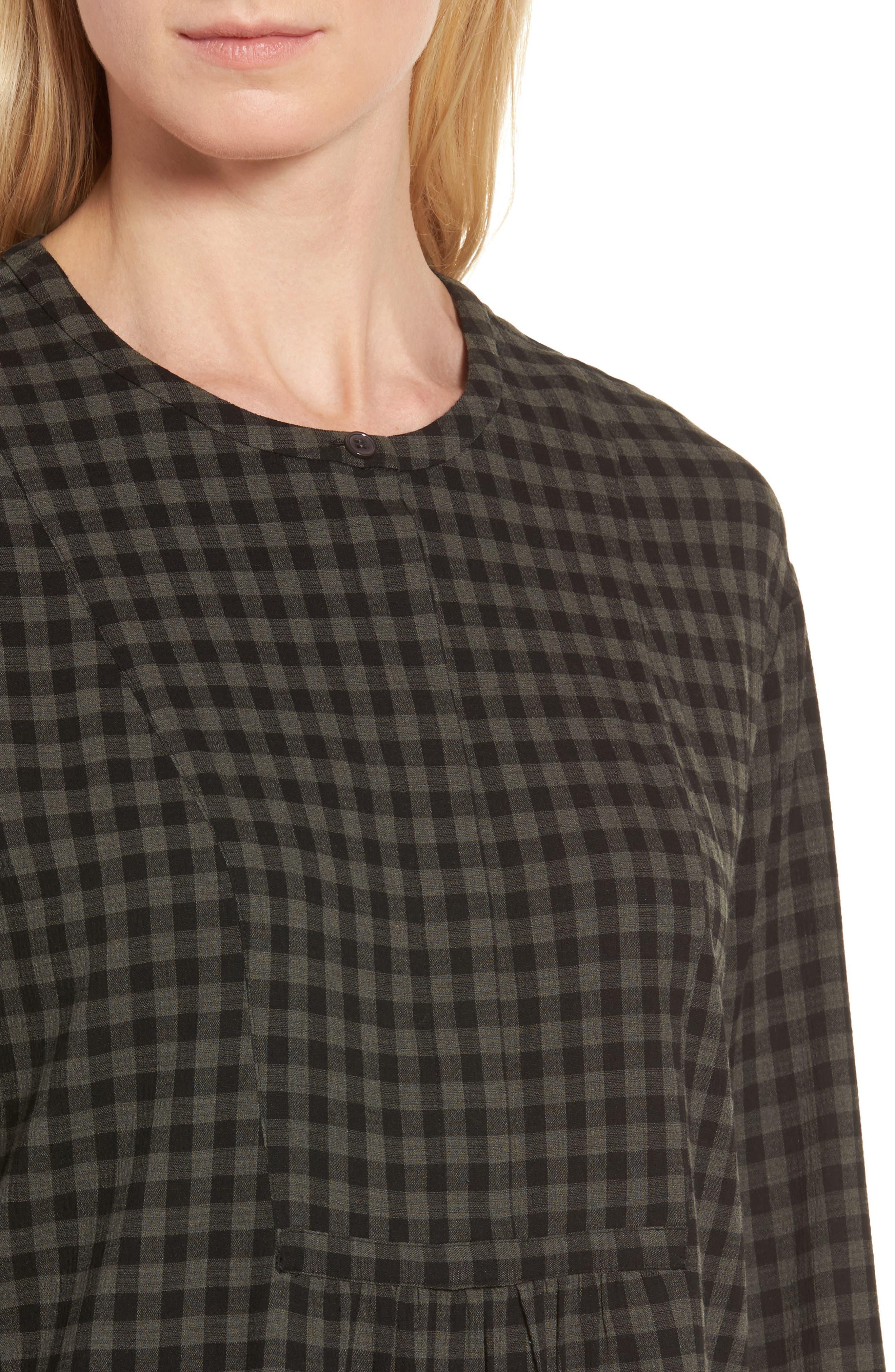 Gingham Check Blouse,                             Alternate thumbnail 4, color,                             Olive/ Black Gingham