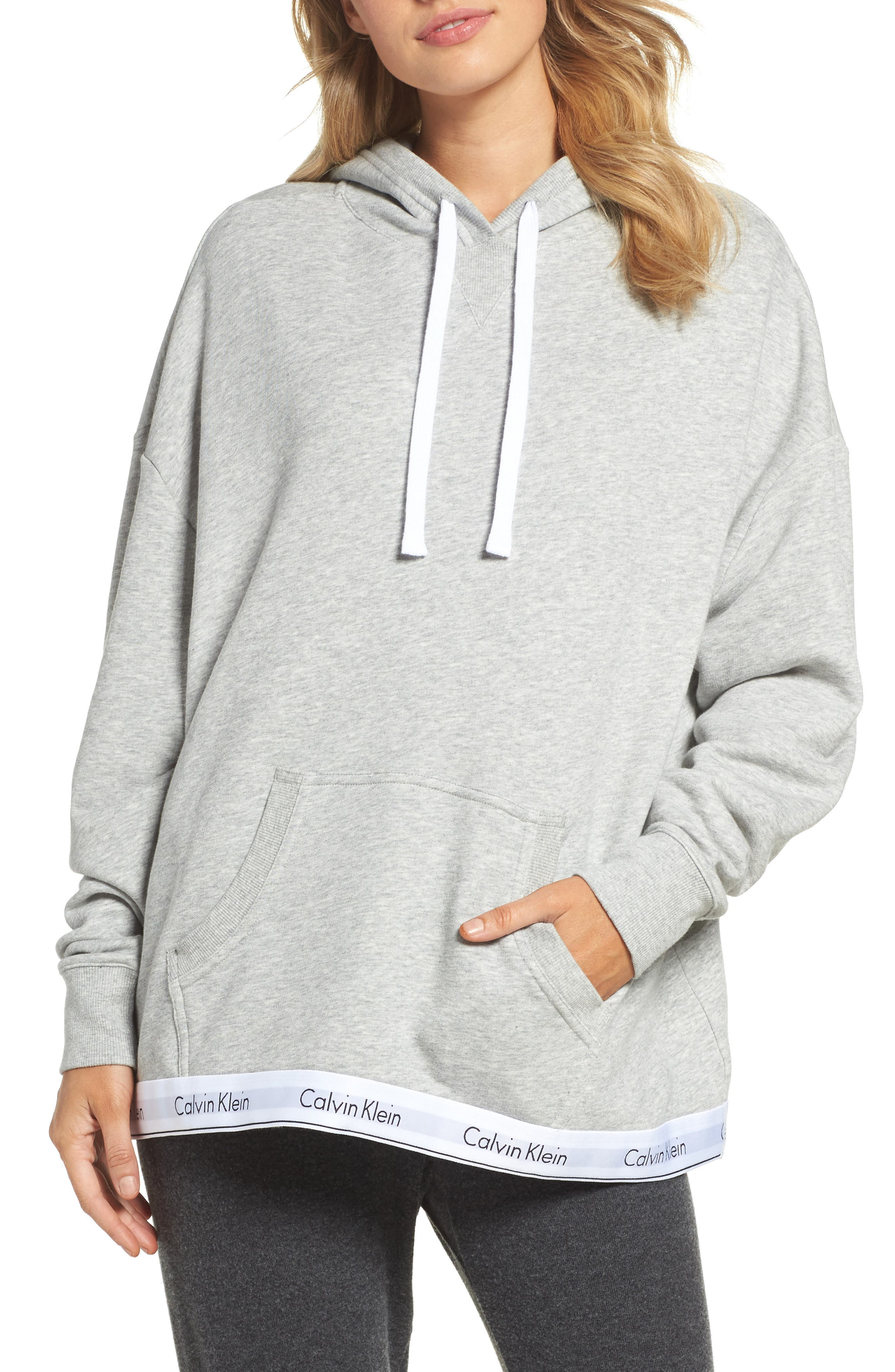 Modern Cotton Lounge Hoodie,                             Main thumbnail 1, color,                             Heather Grey