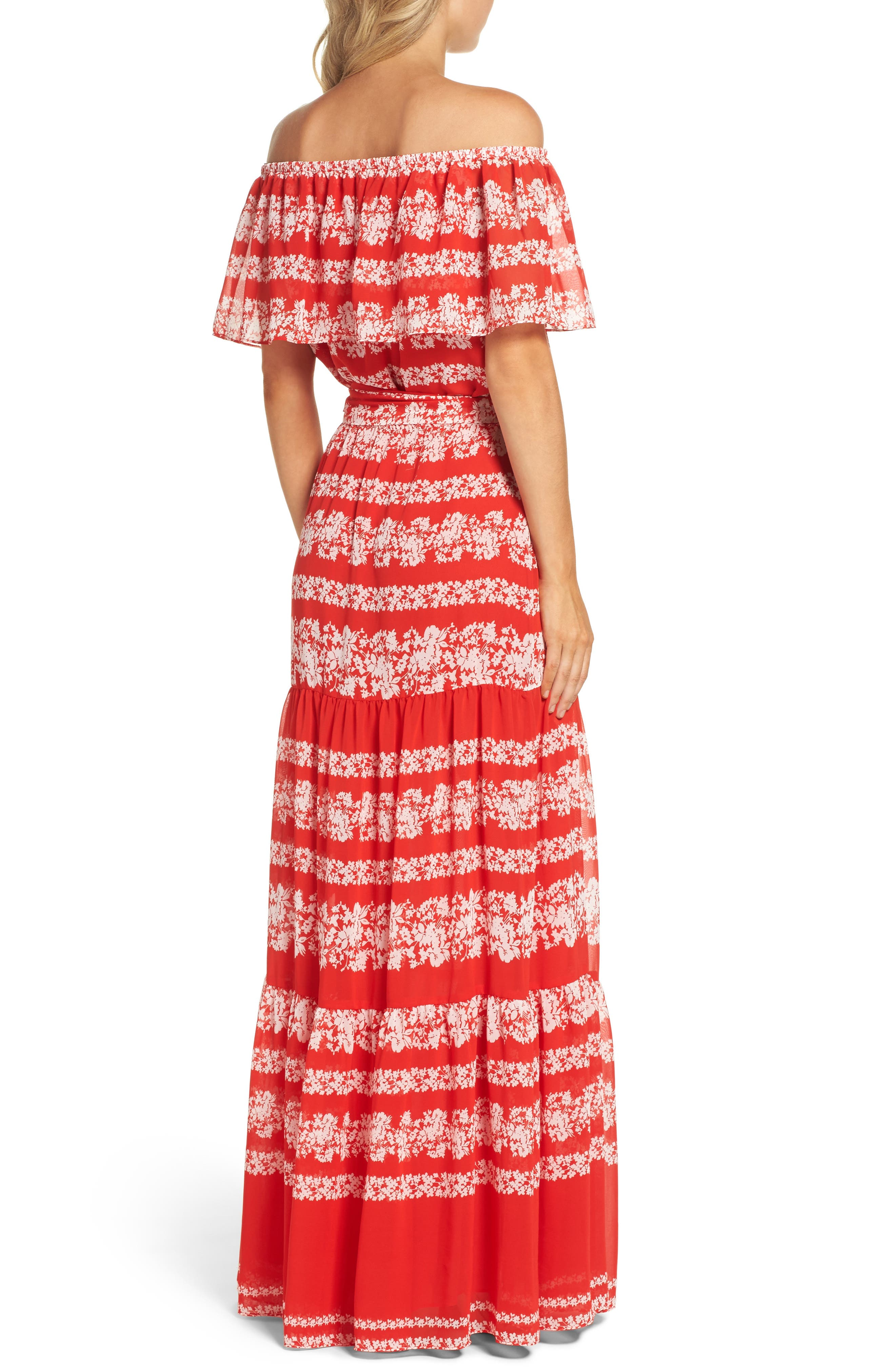 Off the Shoulder Maxi Dress,                             Alternate thumbnail 2, color,                             Red/ Ivory