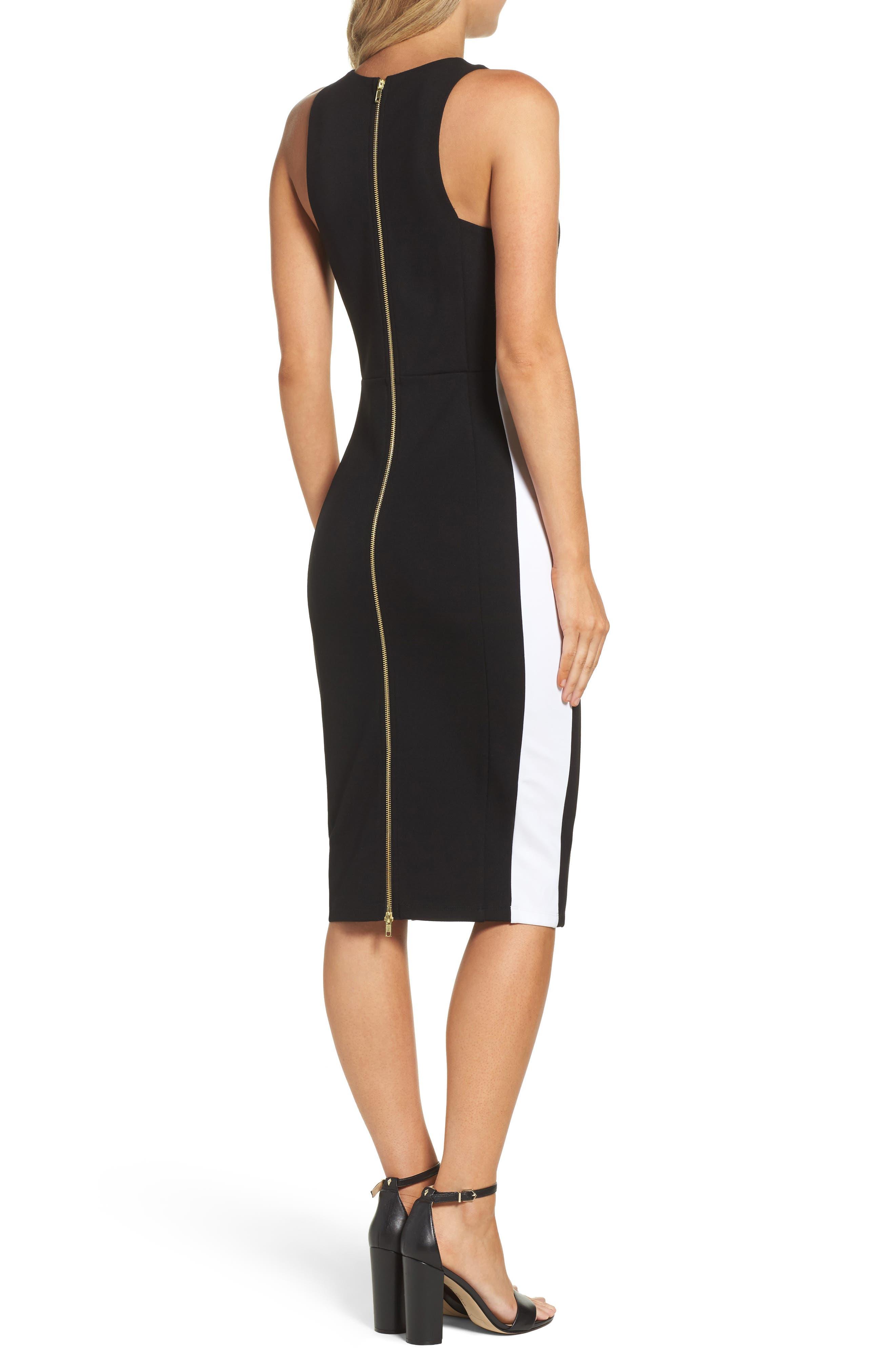 Orlanda Ponte Knit Sheath Dress,                             Alternate thumbnail 2, color,                             Black/ White