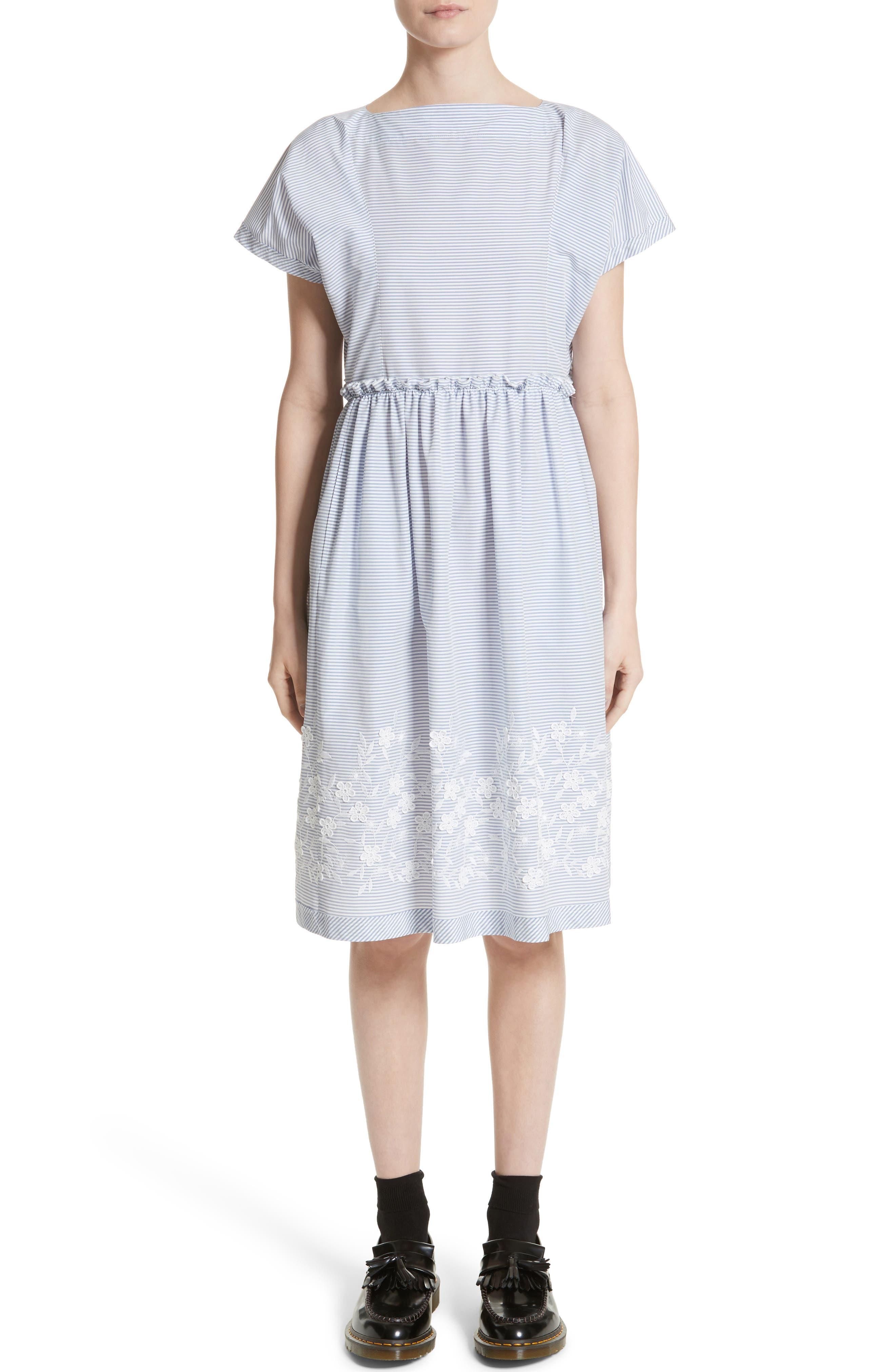 Tricot Comme des Garçons Floral Embroidered Stripe Shift Dress