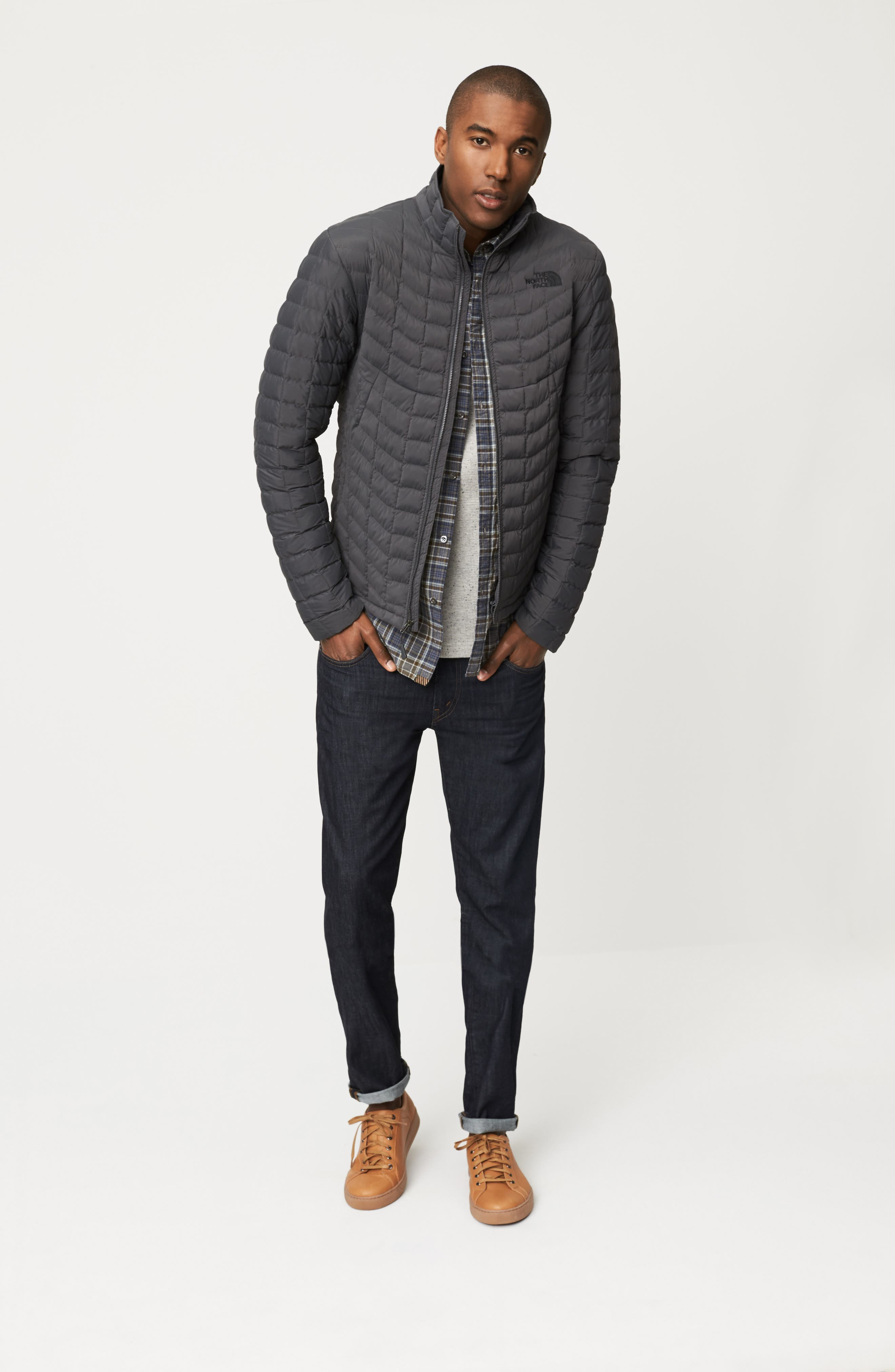 The North Face Jacket, Billy Reid Shirt & J Brand Jeans Outfit with Accessories