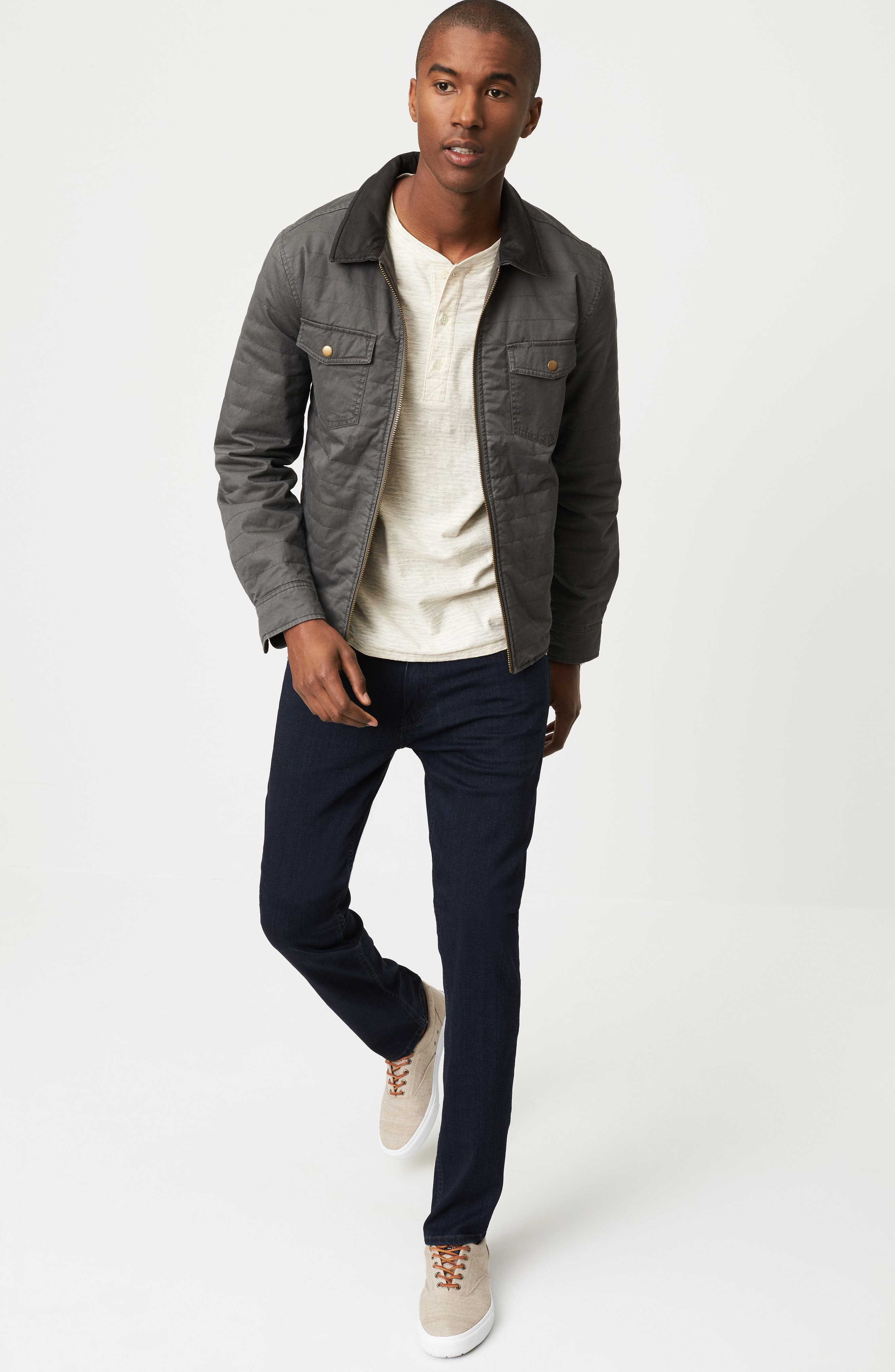 Billy Reid Shirt Jacket, Henley & PAIGE Jeans Outfit with Accessories