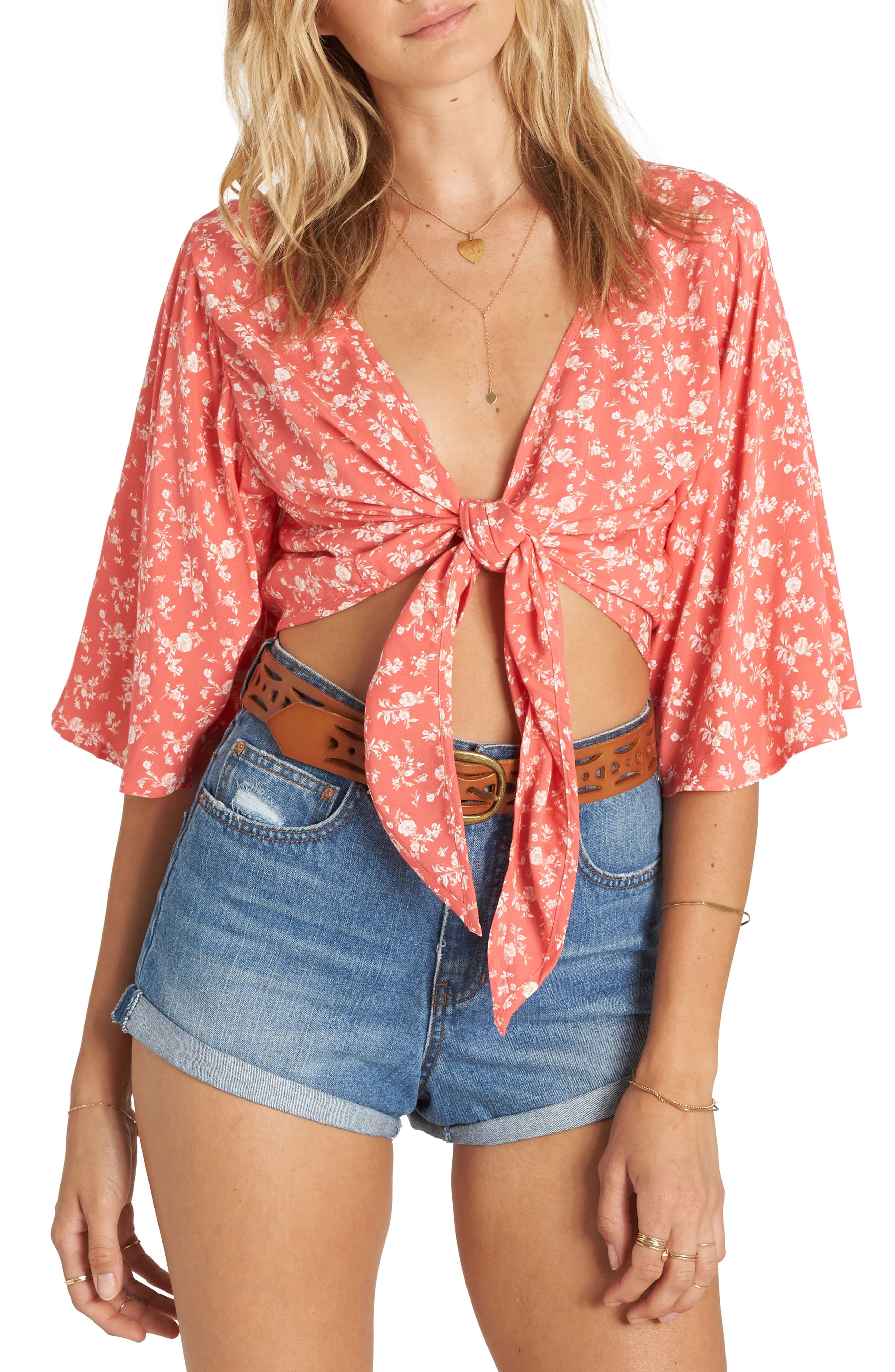 Get it Twisted Crop Top,                             Main thumbnail 1, color,                             Vintage Coral