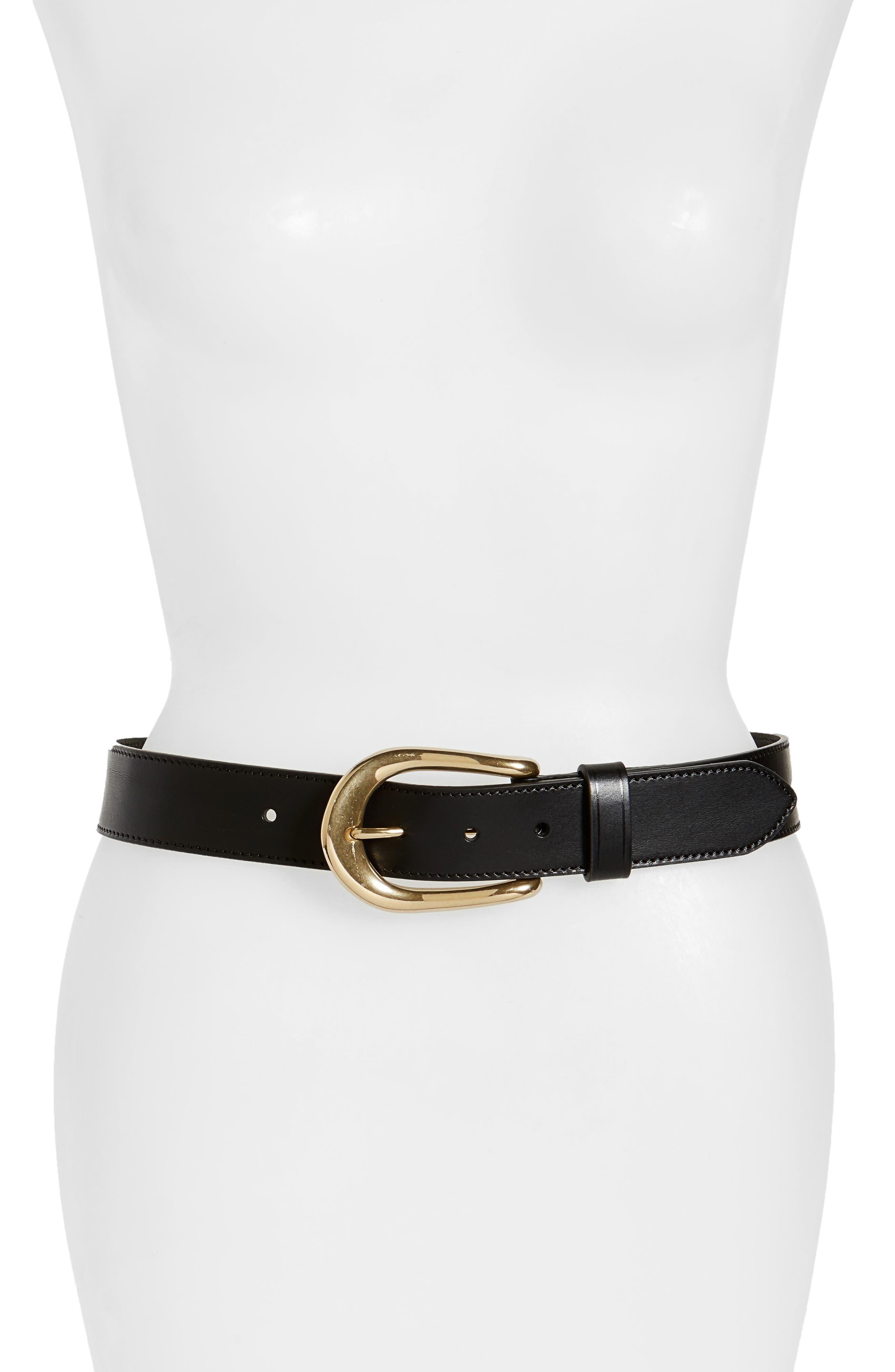 Roper Leather Belt,                             Main thumbnail 1, color,                             Black