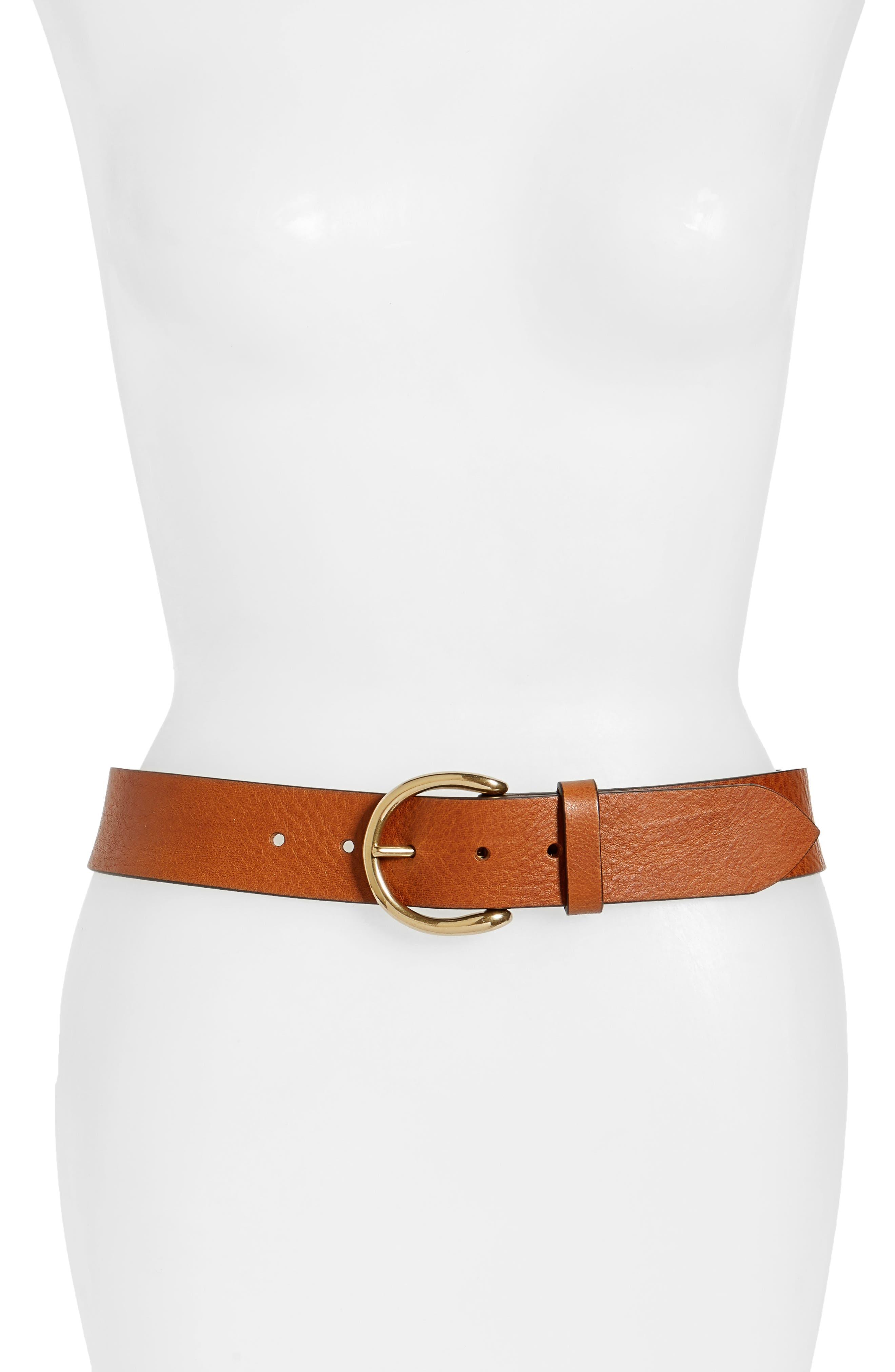 Campus Leather Belt,                             Main thumbnail 1, color,                             Cognac