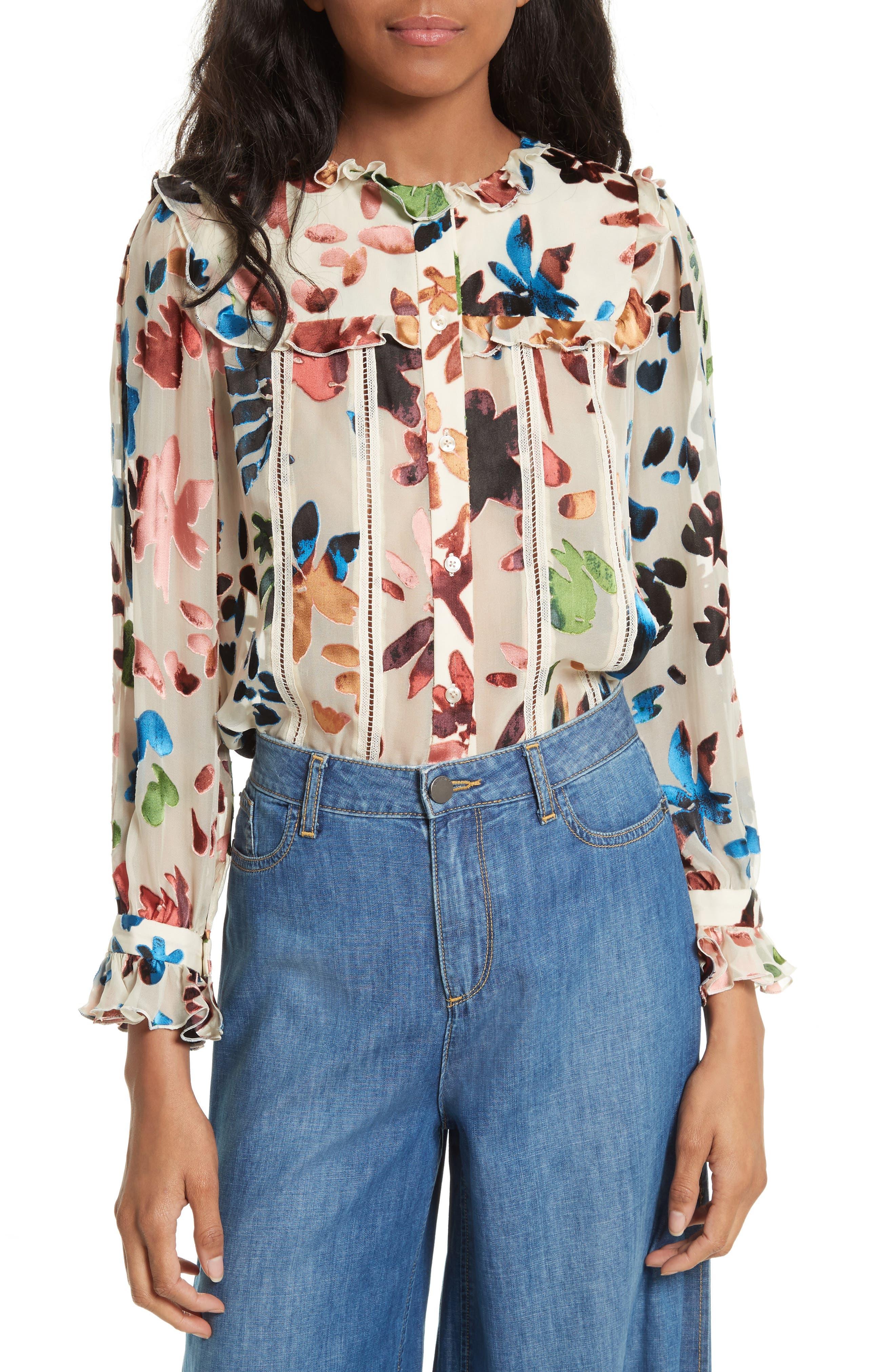 Malinda Ruffle Trim Blouse,                         Main,                         color, Prisma Floral Burnout