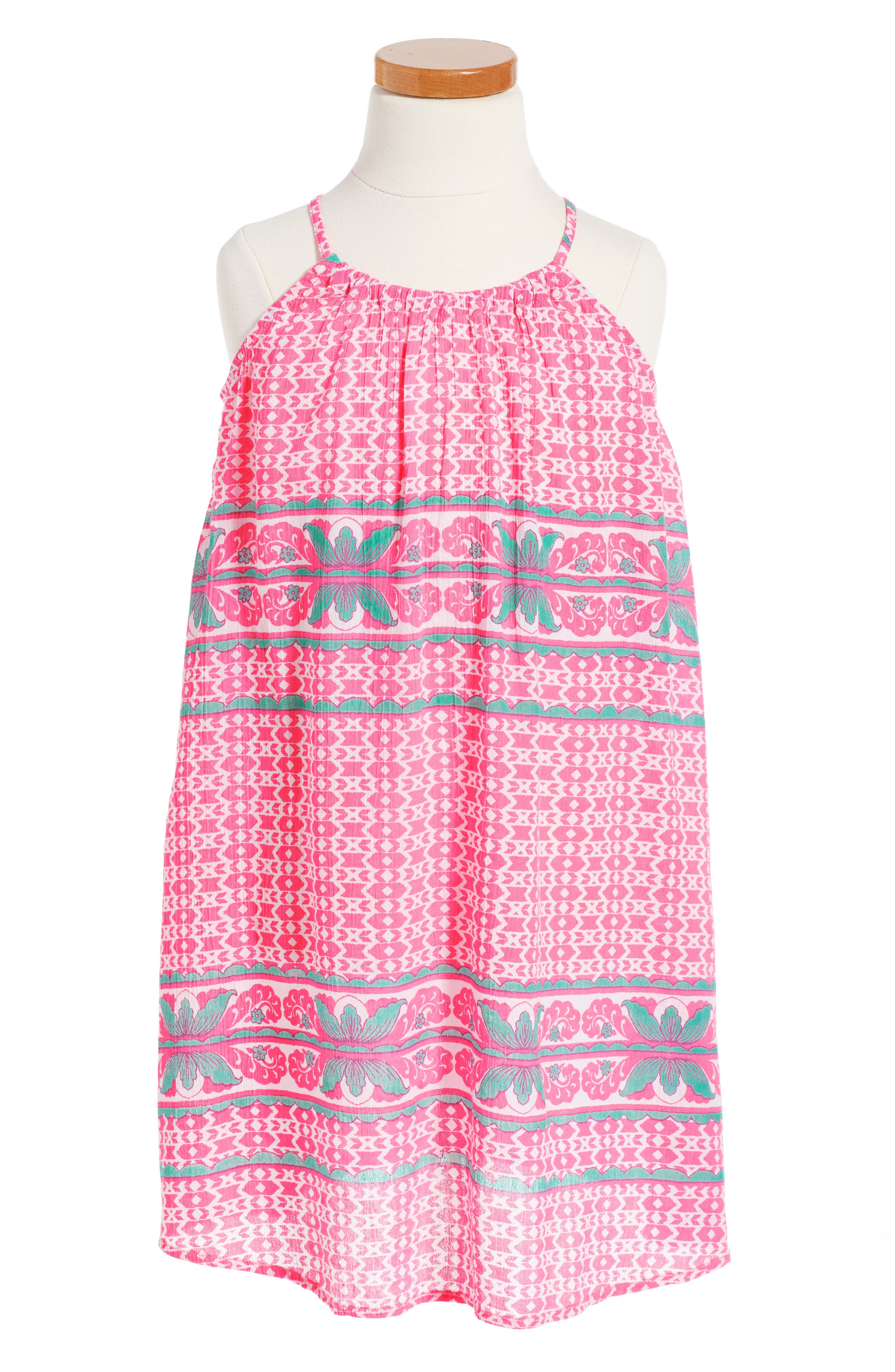 Swing Dress,                             Main thumbnail 1, color,                             Pink Knockout Anita Border
