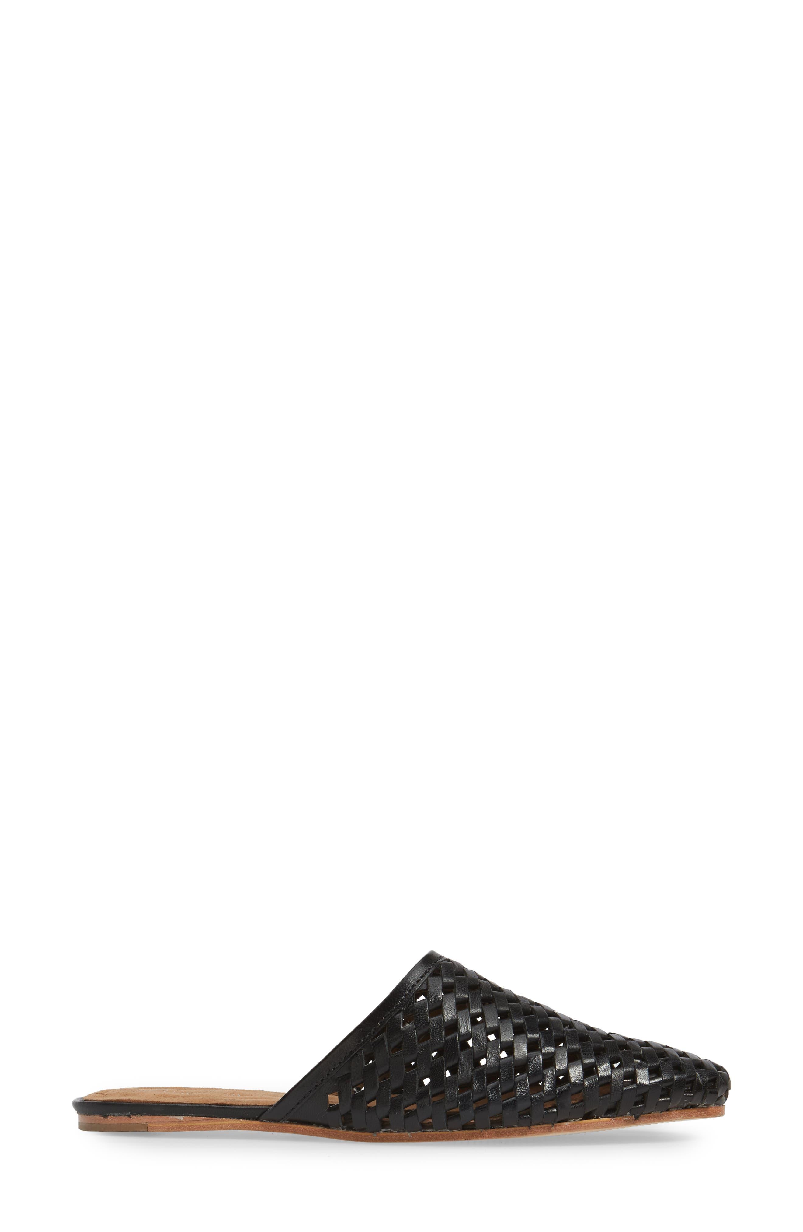 Doshi Woven Mule,                             Alternate thumbnail 3, color,                             Black Leather