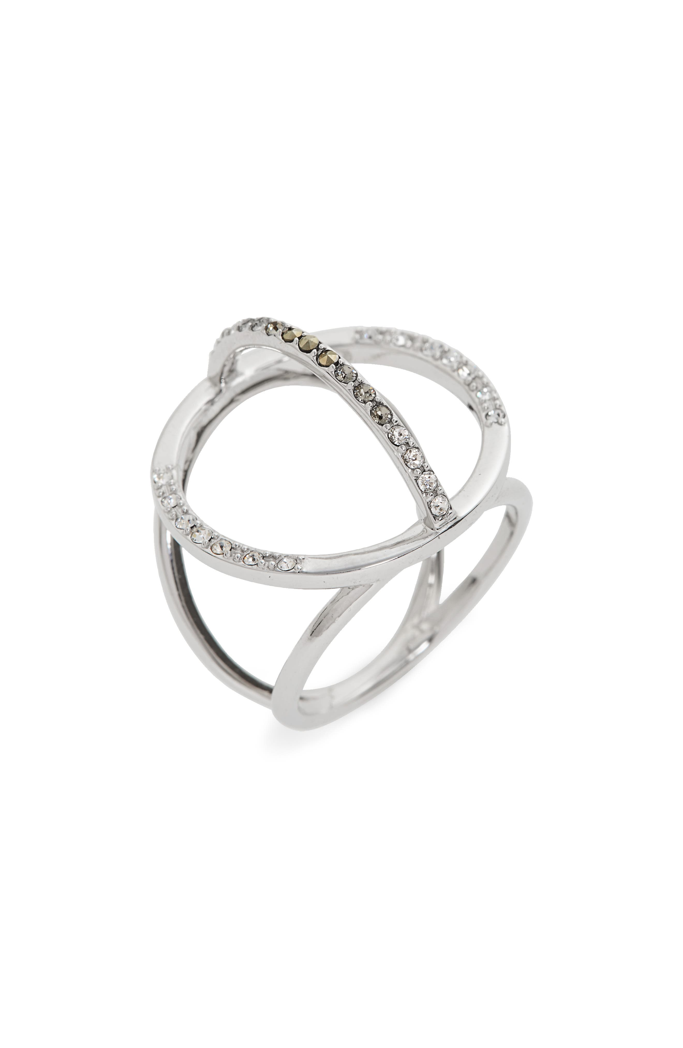 JUDITH JACK Silver Sparkle Circle Ring