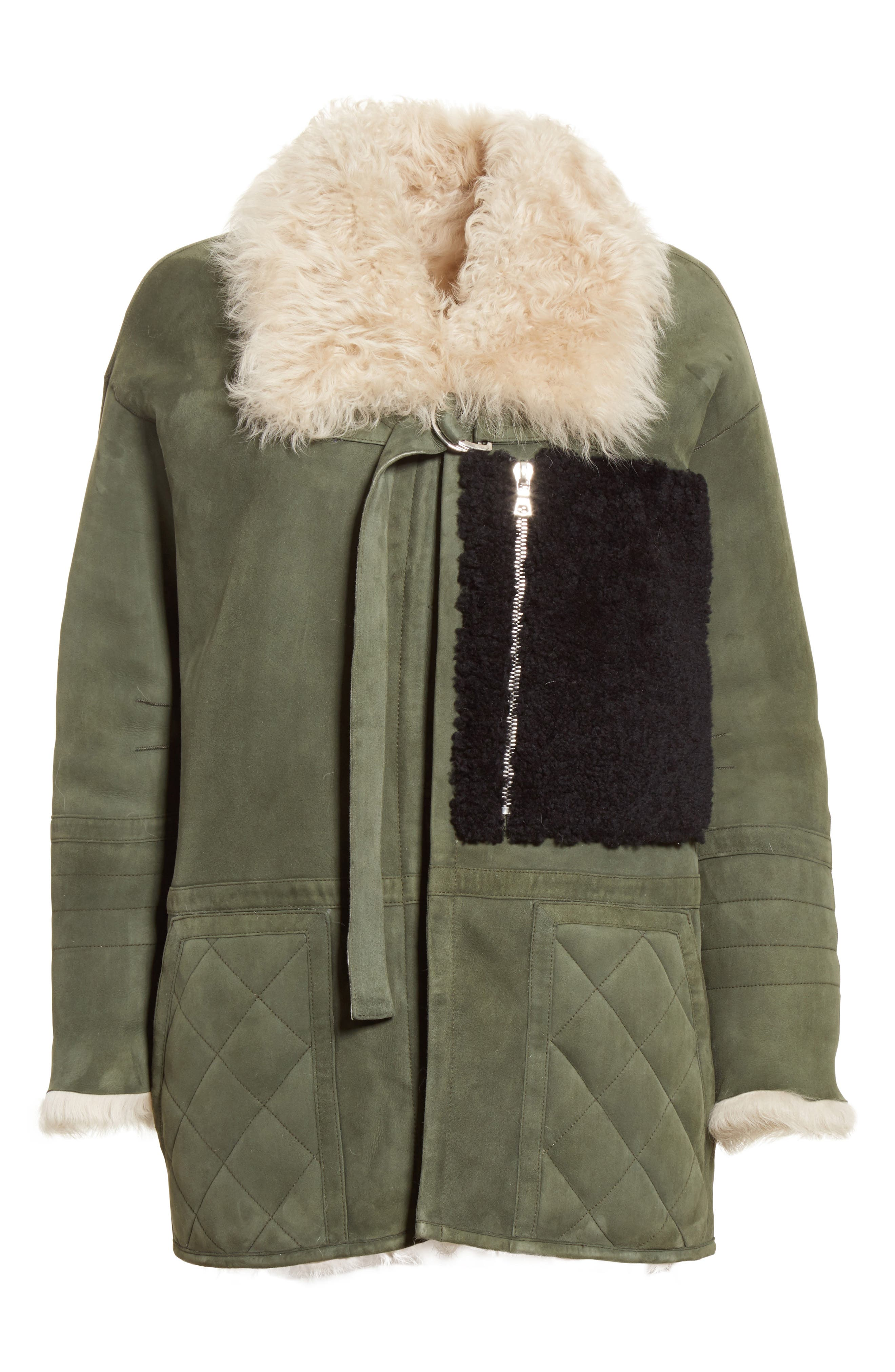 Ines Suede & Genuine Shearling Coat,                             Alternate thumbnail 6, color,                             Olive