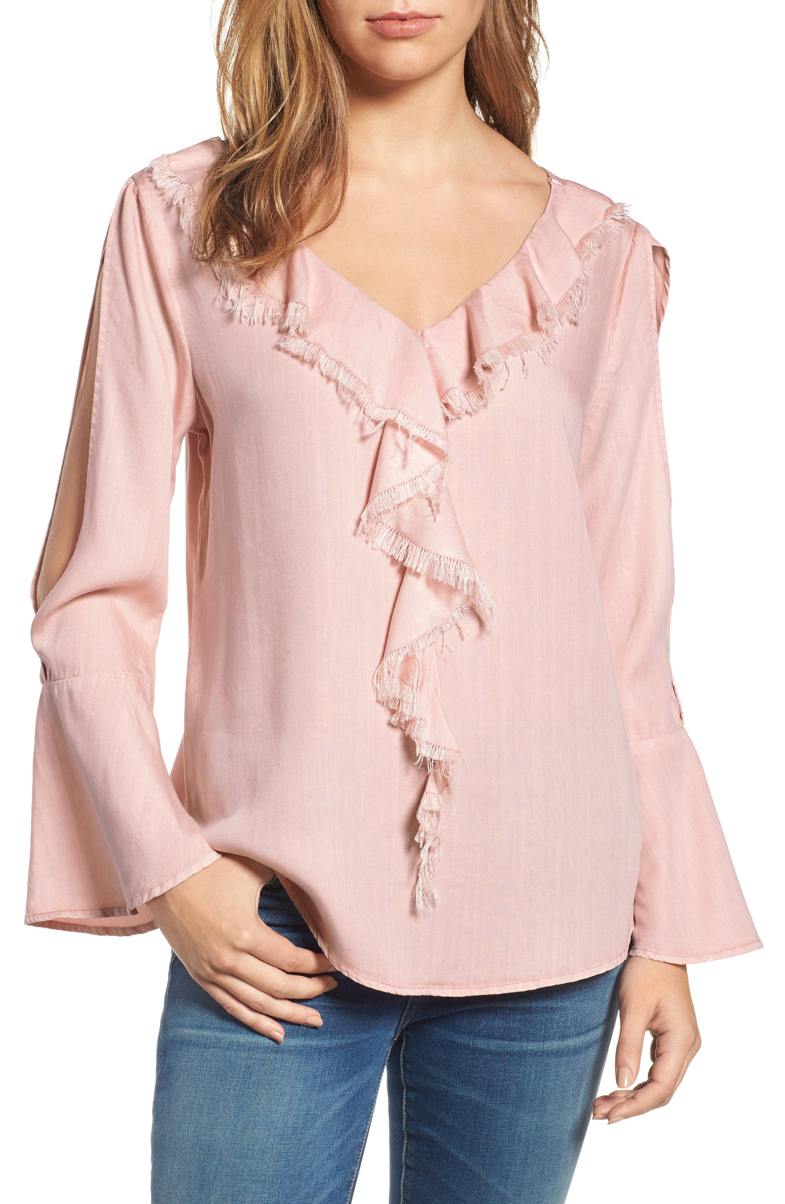 Ruffle Front Top,                         Main,                         color, Dusty Pink