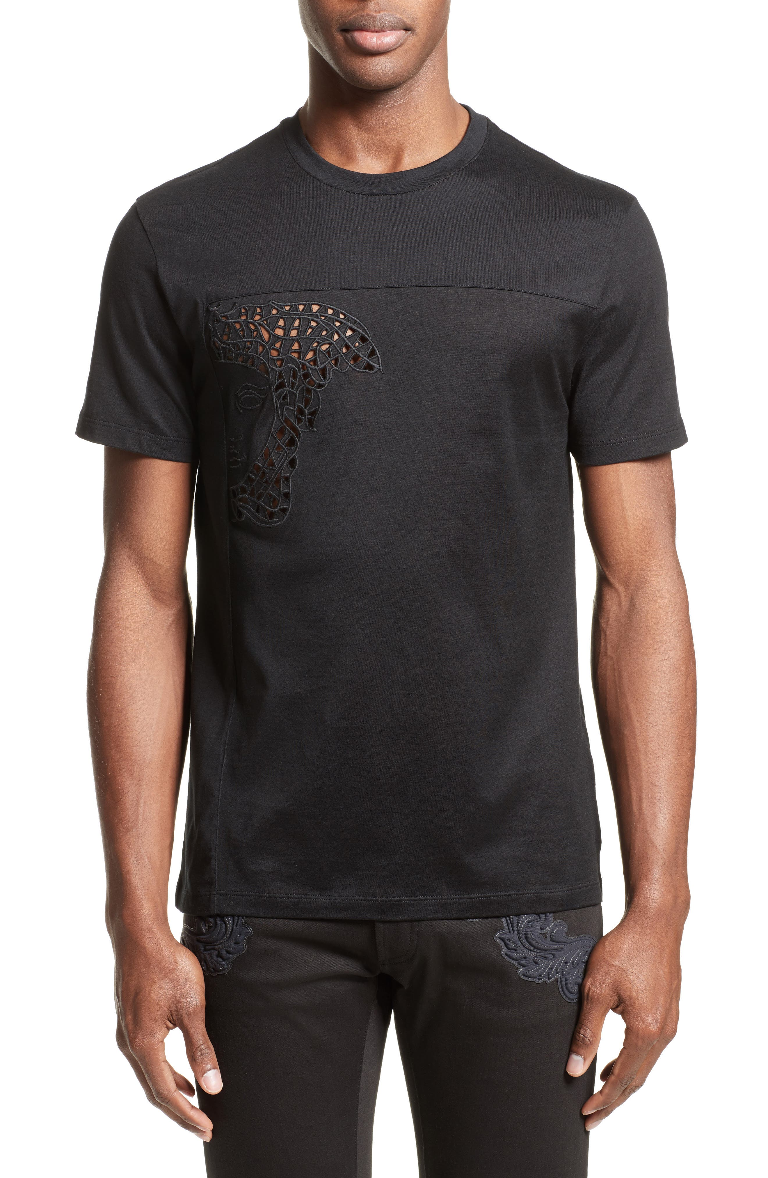 Versace Collection Eyelet Embroidered Medusa T-Shirt