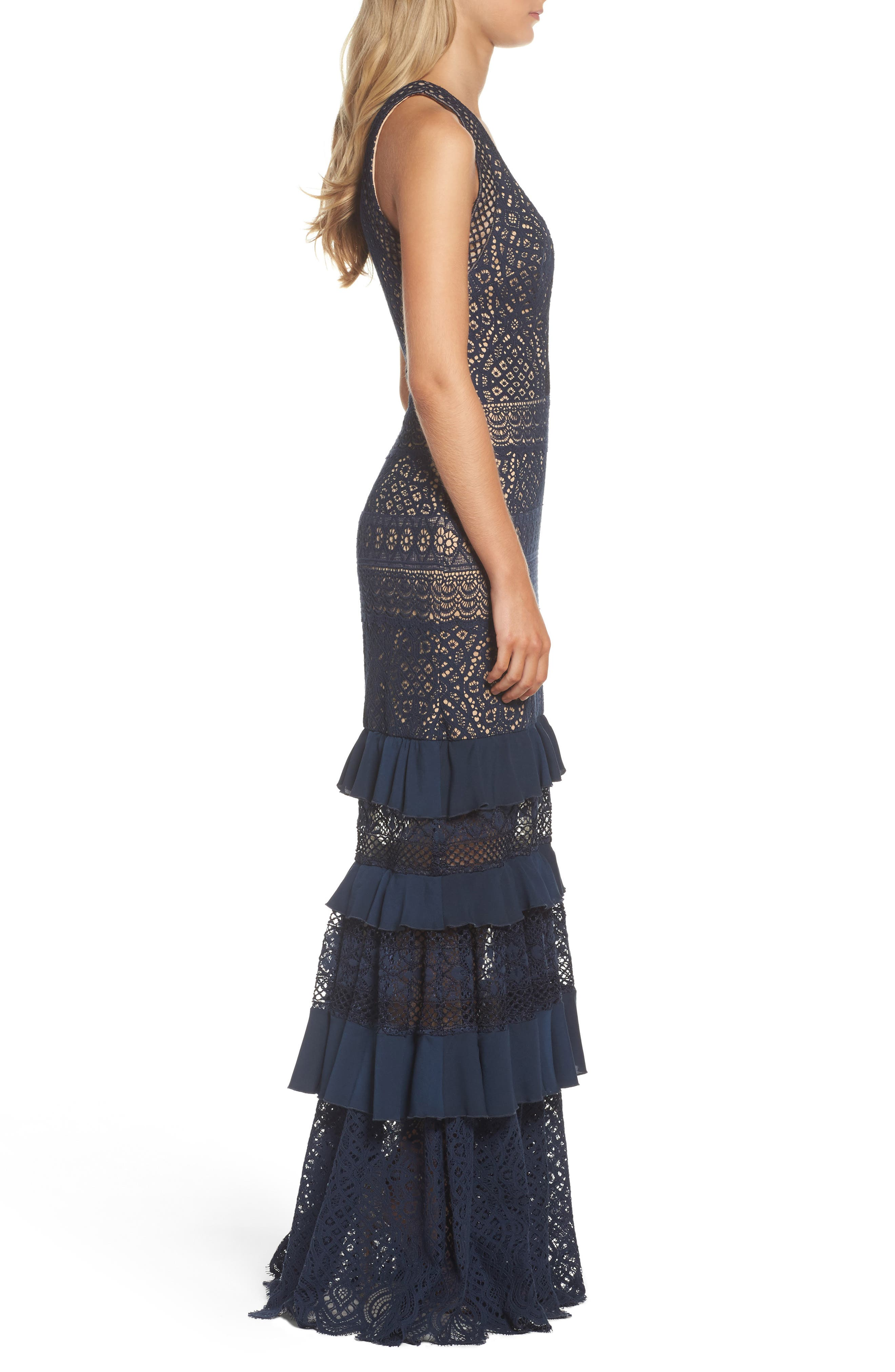 V-Neck Tiered Gown,                             Alternate thumbnail 3, color,                             Navy/ Nude
