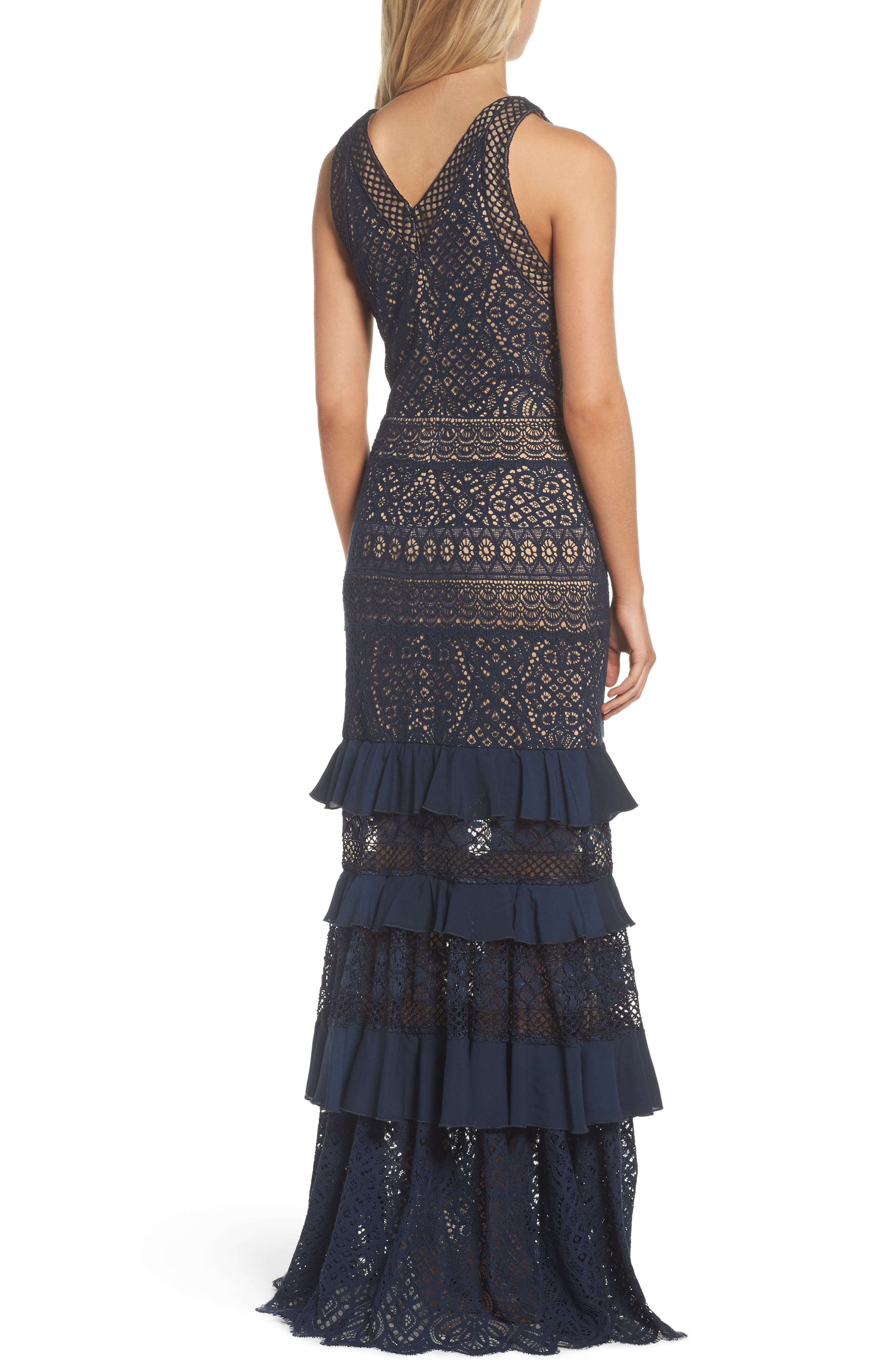 V-Neck Tiered Gown,                             Alternate thumbnail 2, color,                             Navy/ Nude