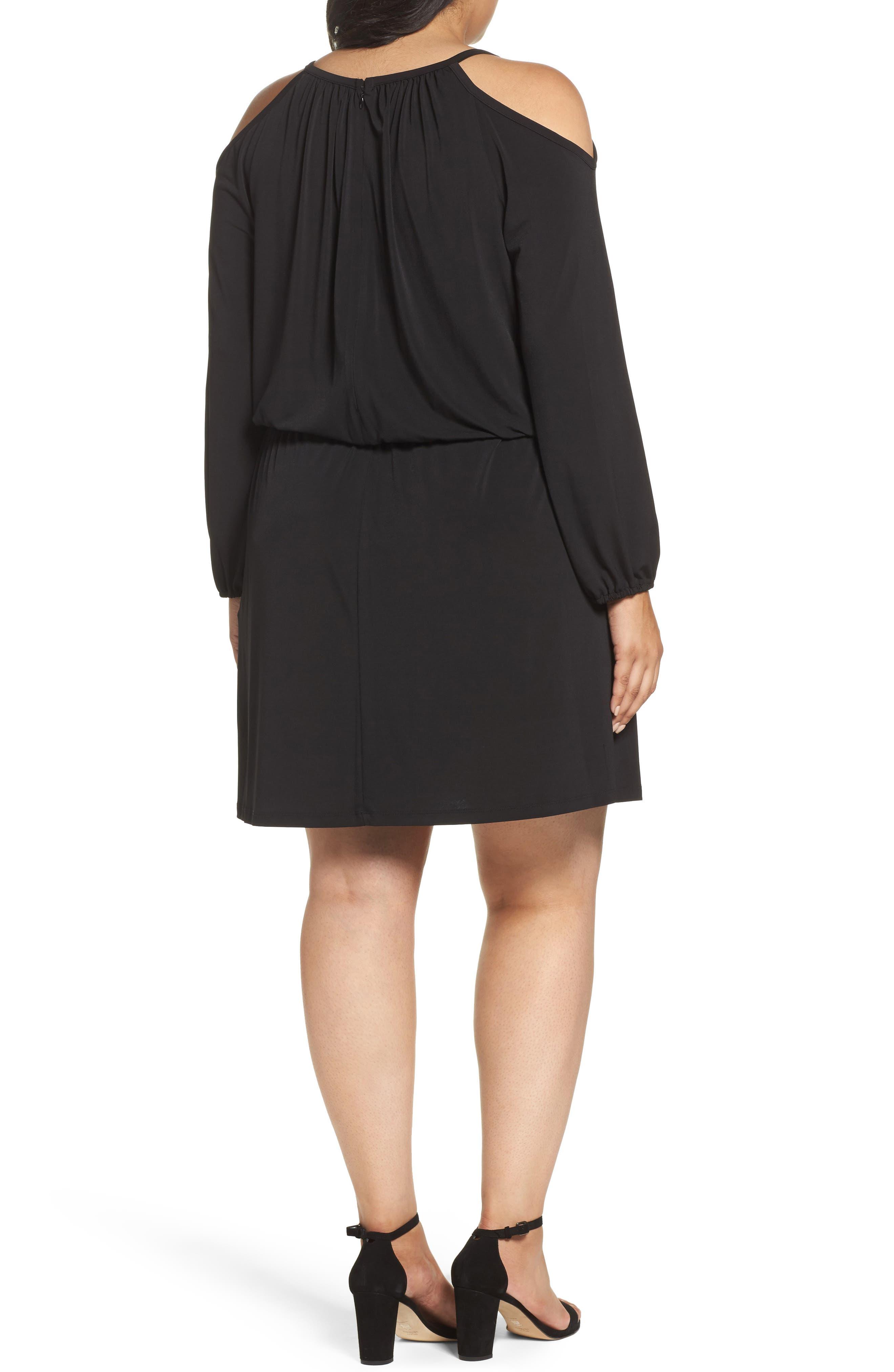 Cold Shoulder A-Line Jersey Dress,                             Alternate thumbnail 2, color,                             Black