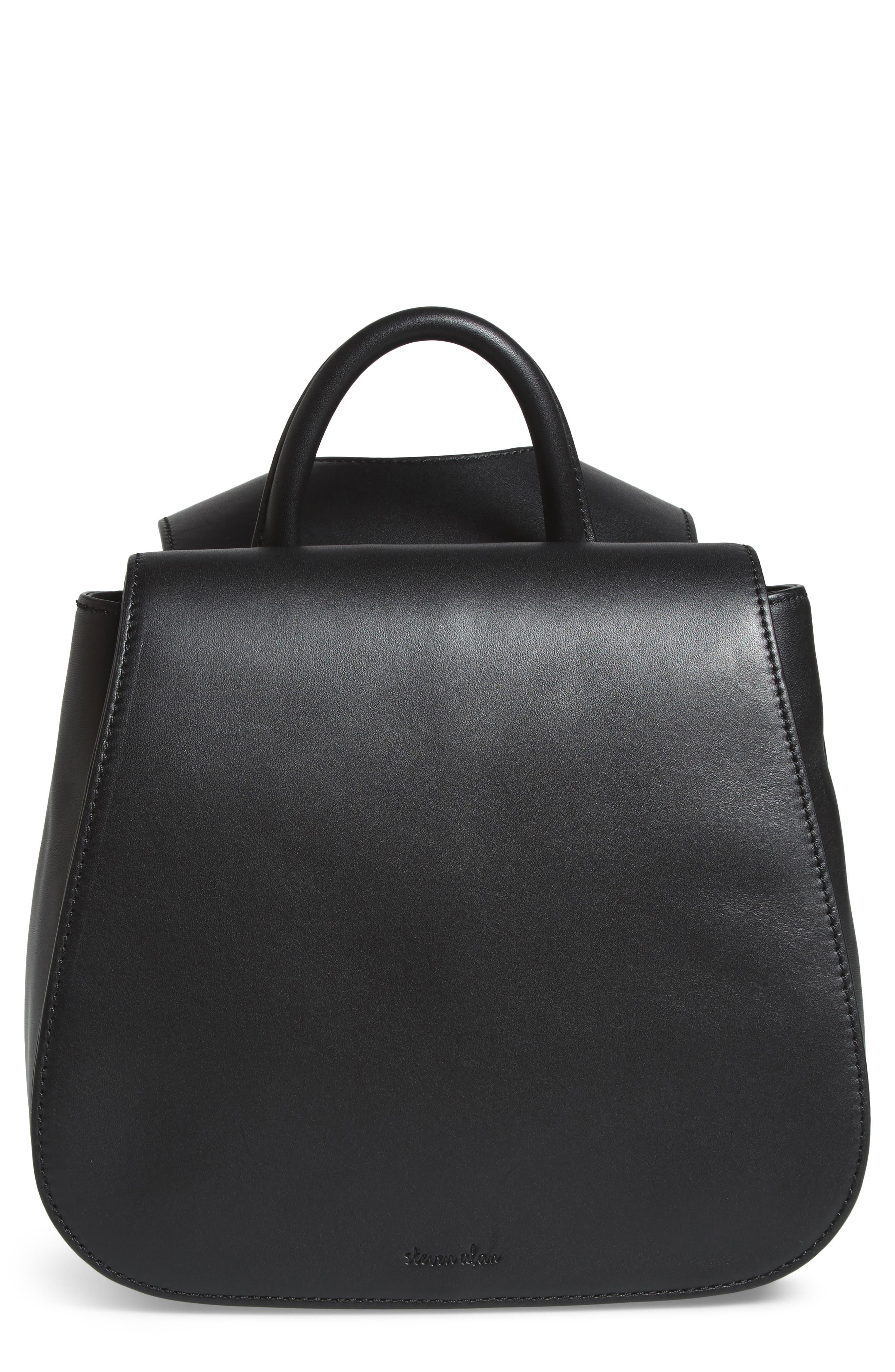 Kate Mini Leather Backpack,                         Main,                         color, Black