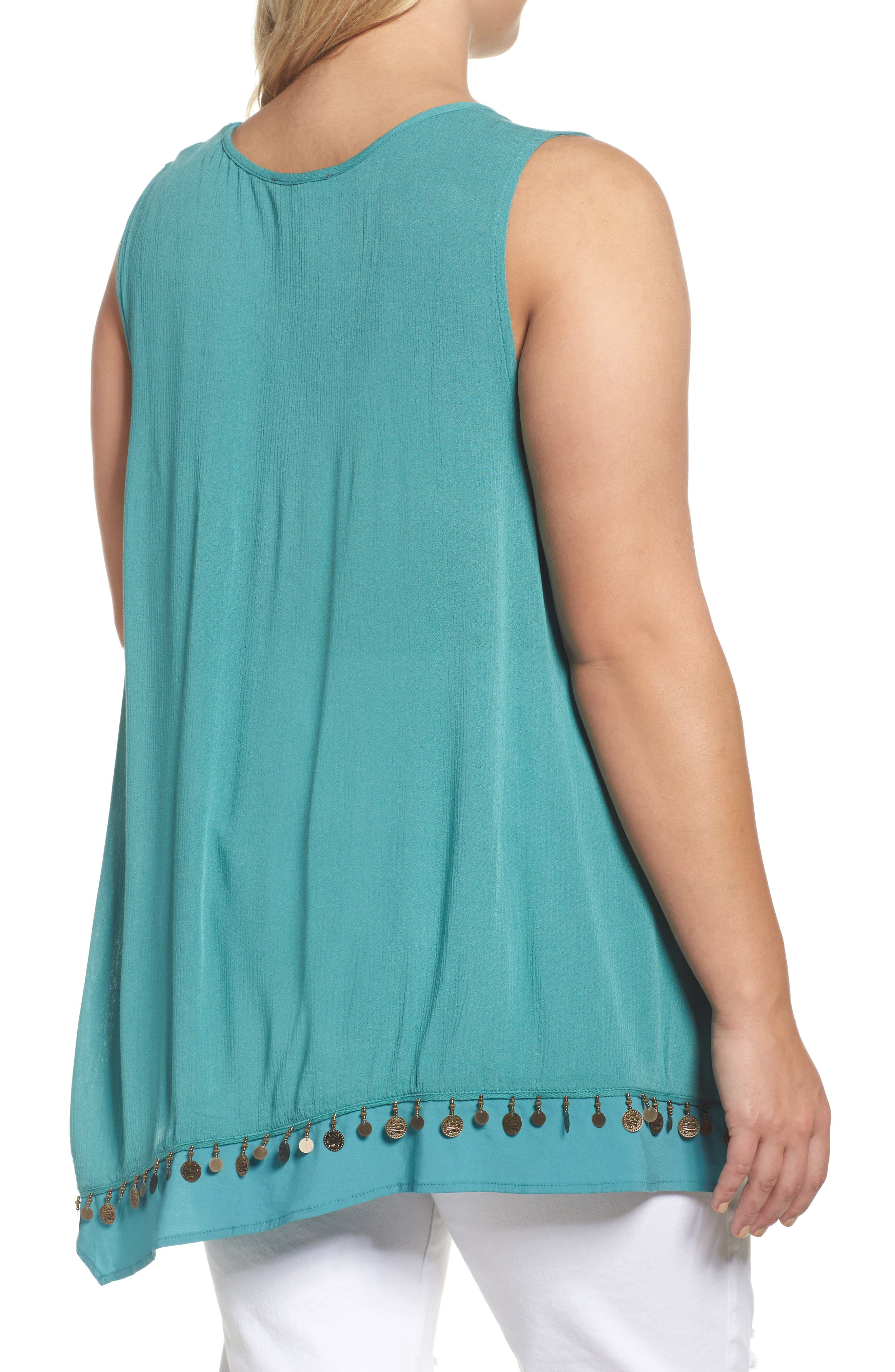Alternate Image 2  - Wit & Wisdom Coin Detail Asymmetrical Double Layer Tank (Plus Size)